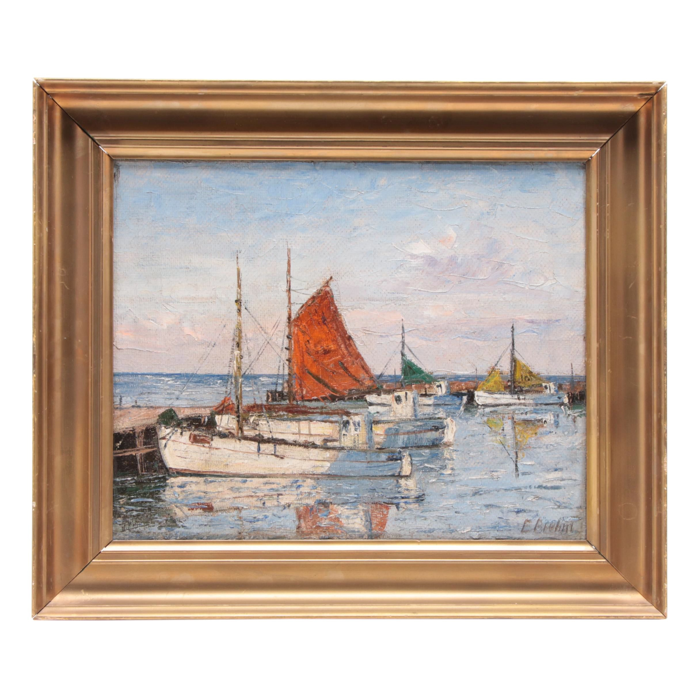 Emil Brehm Oil Painting of Harbor Scene