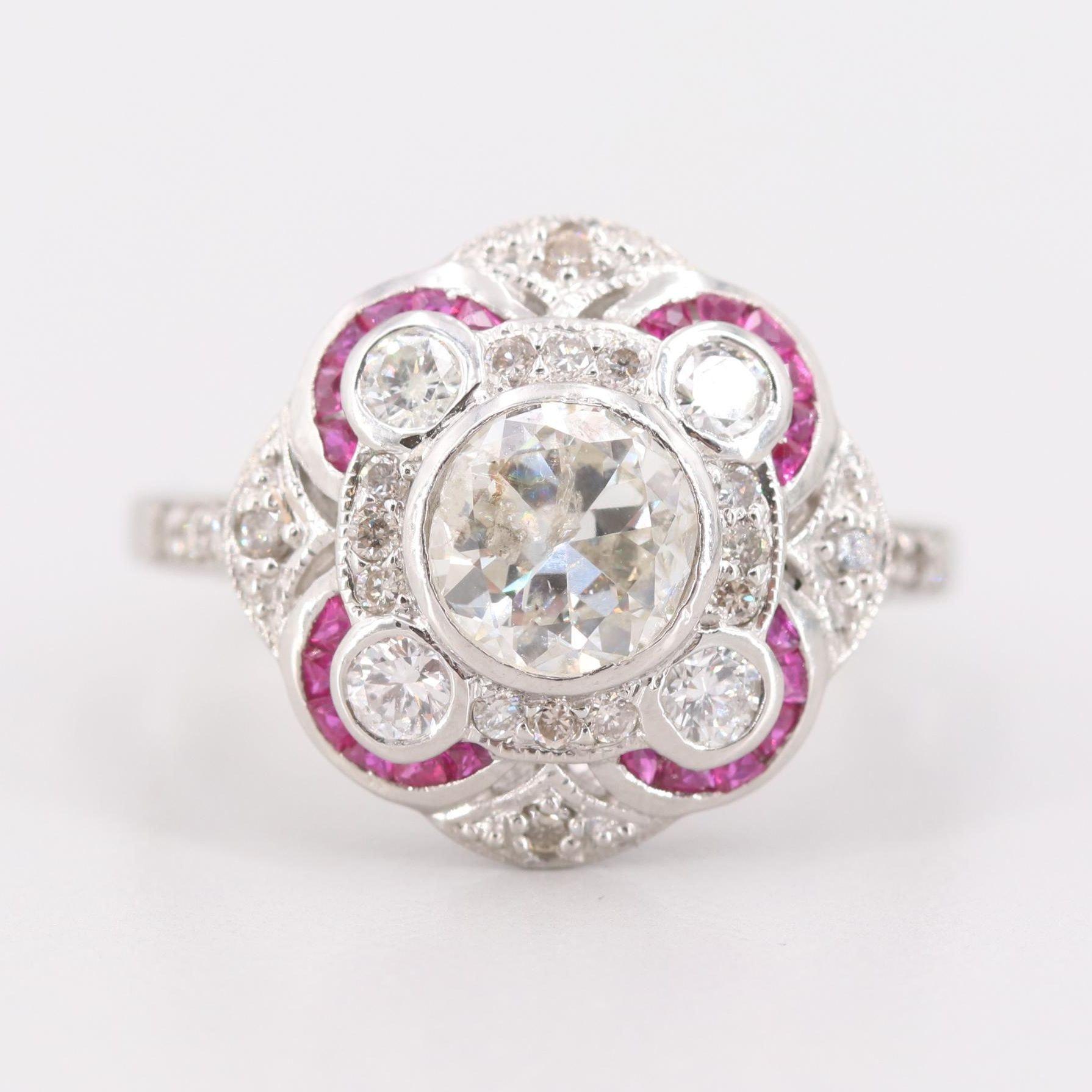 Platinum 1.59 CTW Diamond and Ruby Ring