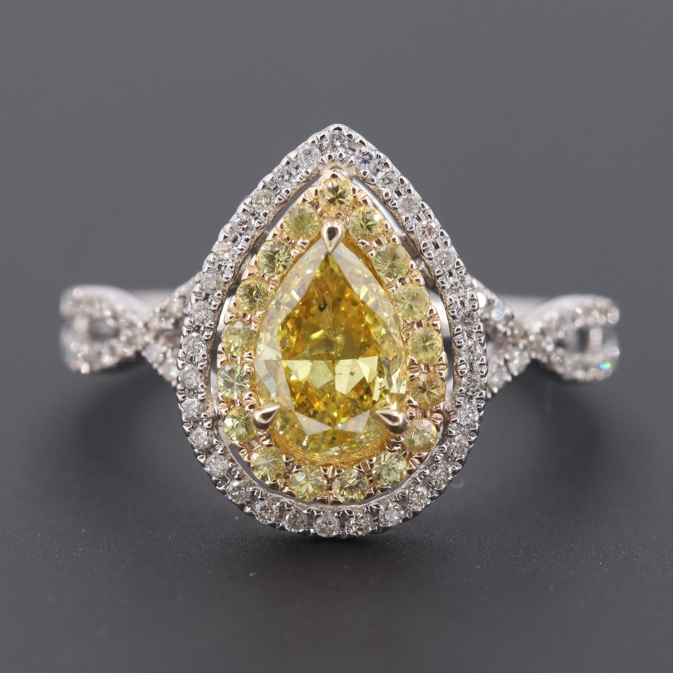 14K White Gold 1.28 CTW Diamond and Yellow Sapphire Ring with GIA Report