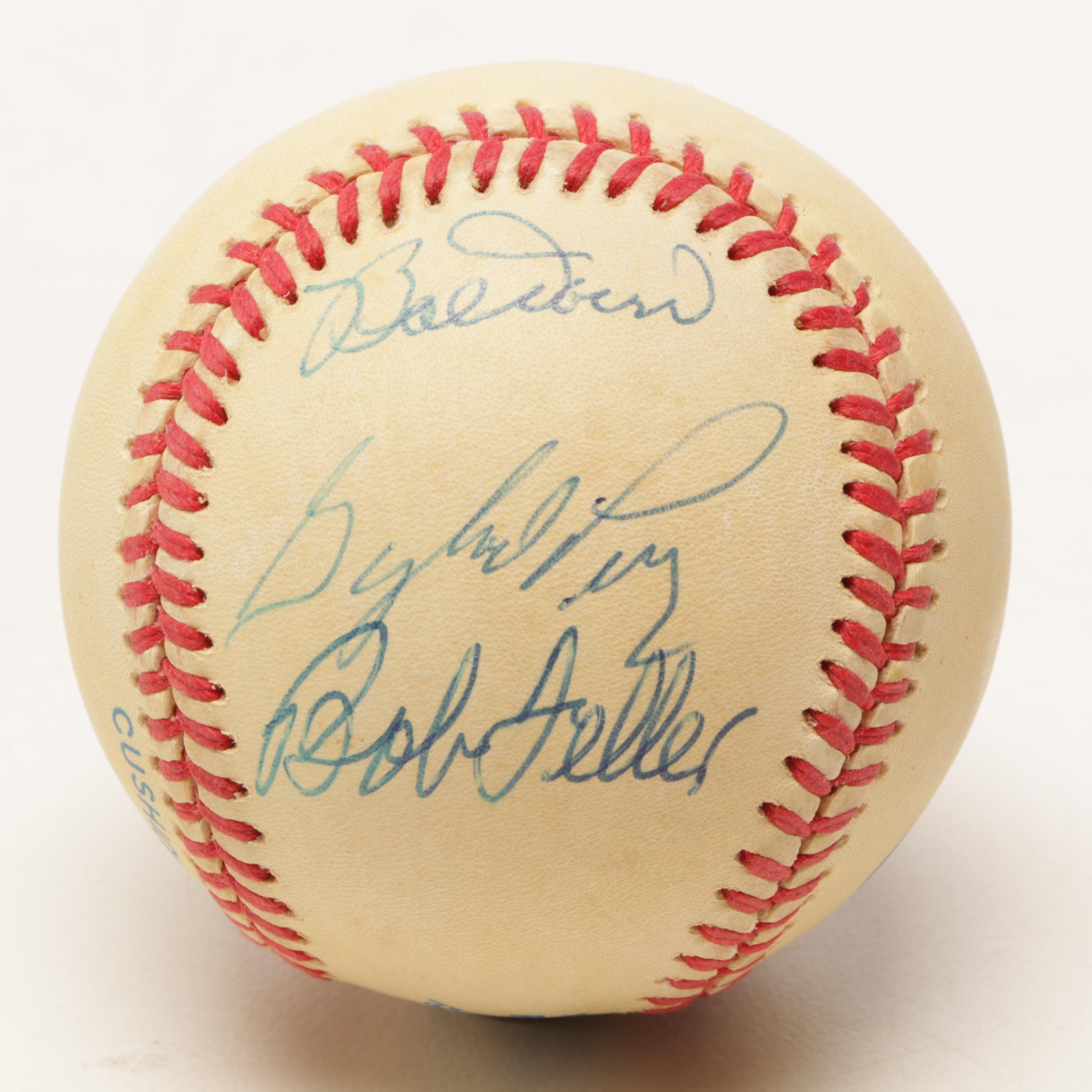 Doerr, Perry, and Feller Signed Rawlings American League Baseball