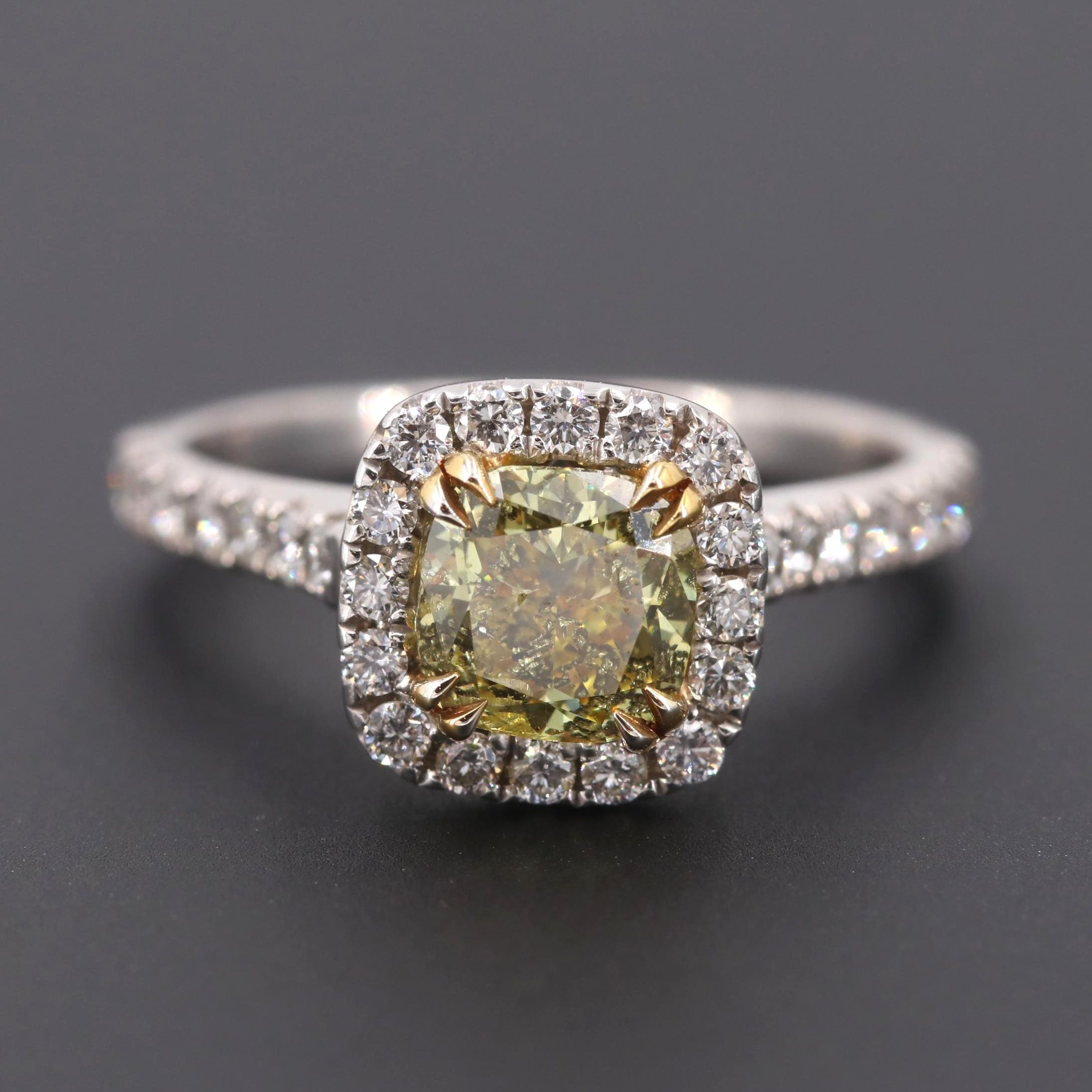 14K White Gold 1.50 CTW Fancy Deep Yellow Diamond Ring with GIA Report