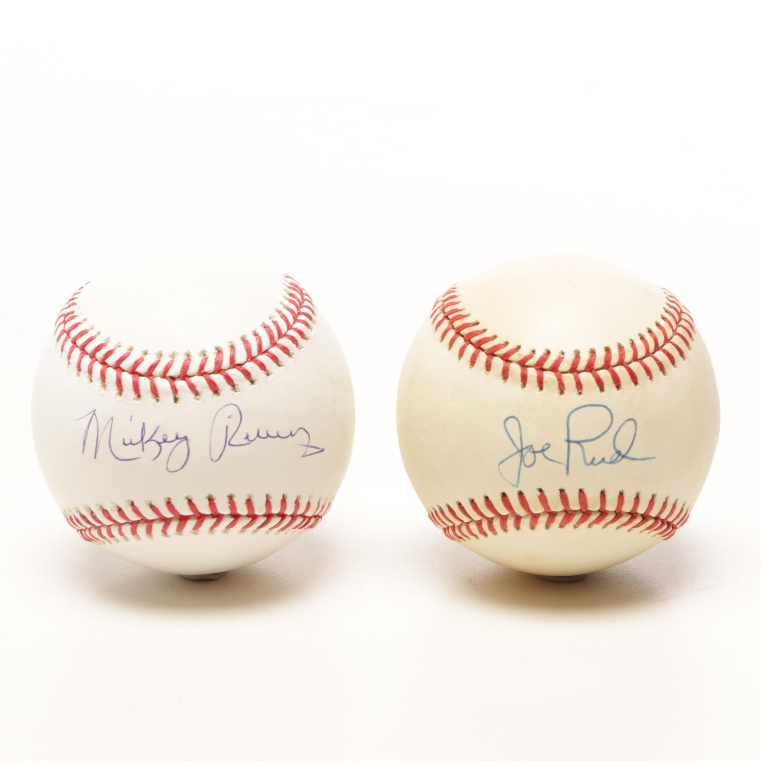 Joe Rudi and Mickey Rivers Signed Rawlings Major League Baseballs