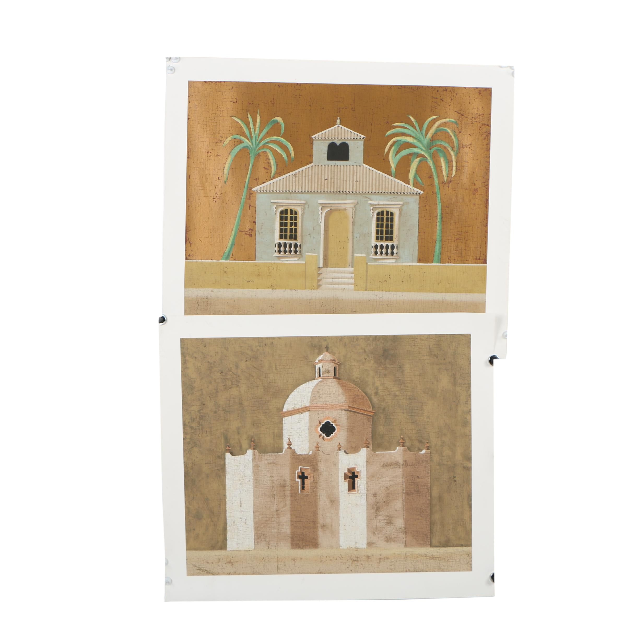 """Jacques Lamy Serigraphs """"Untitled (Church)"""" and """"Untitled (House)"""""""