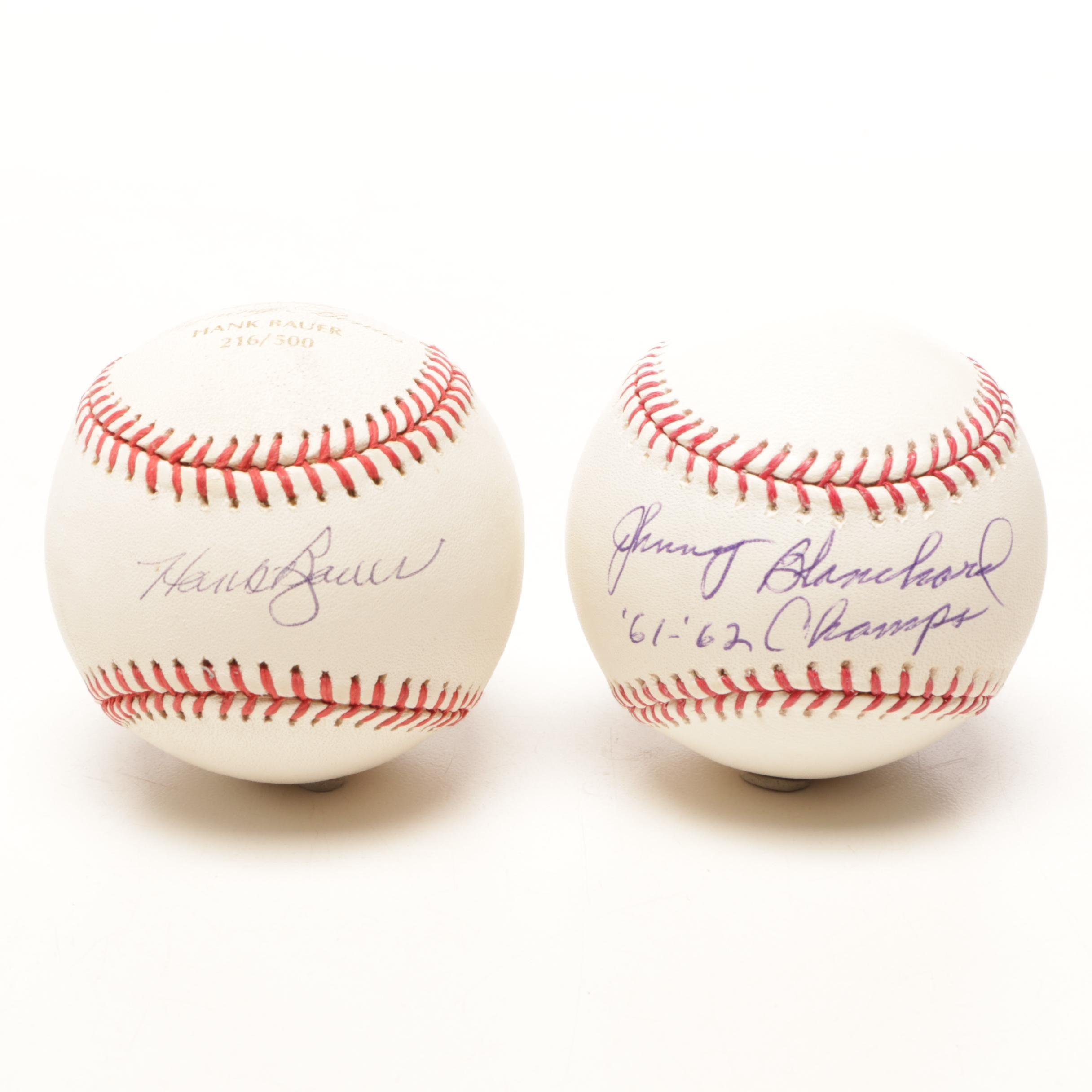 Hank Bauer and Johnny Blanchard Signed Rawlings Major League Baseballs