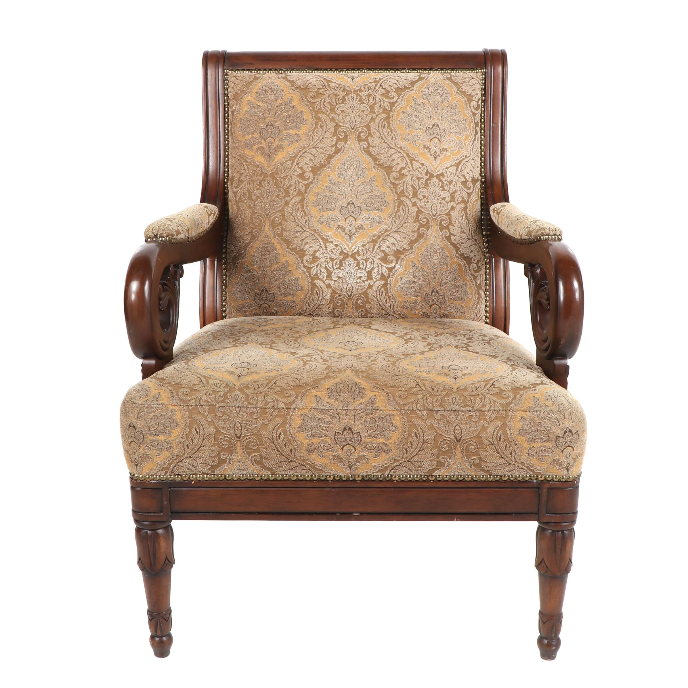 Contemporary Upholstered Armchair with Nailhead Trim