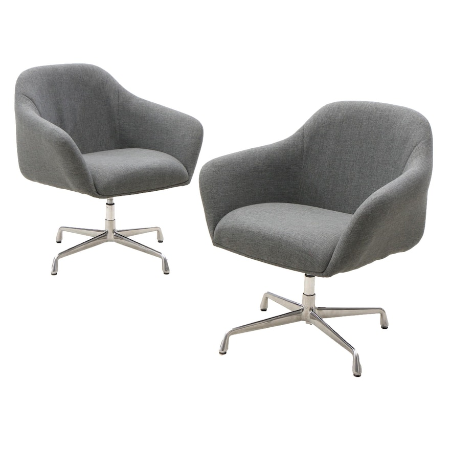 Awesome Pair Gray Upholstered Swivel Arm Chairs With Aluminum Base Alphanode Cool Chair Designs And Ideas Alphanodeonline