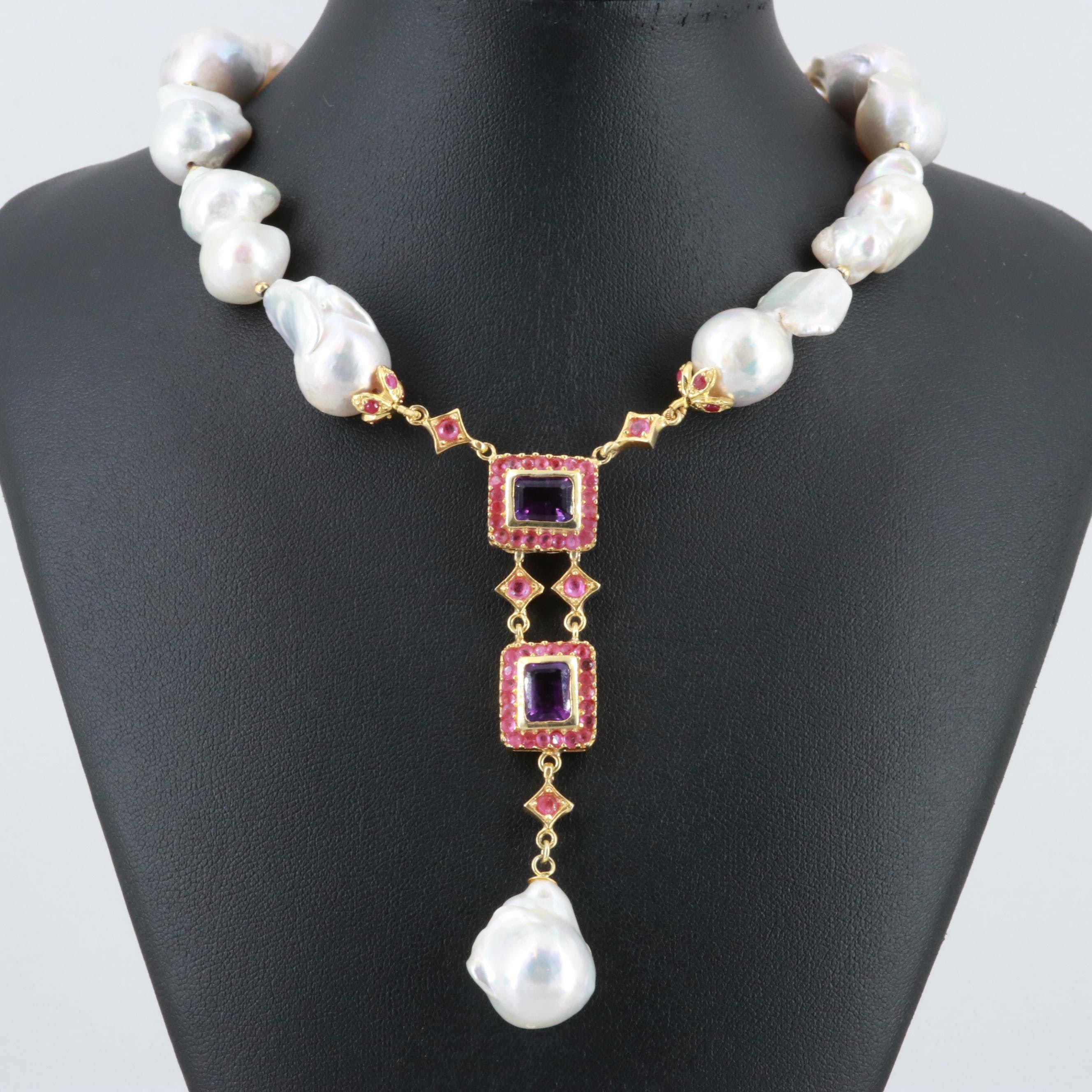 Gold Wash on Sterling Silver Cultured Pearl, Amethyst, and Ruby Necklace