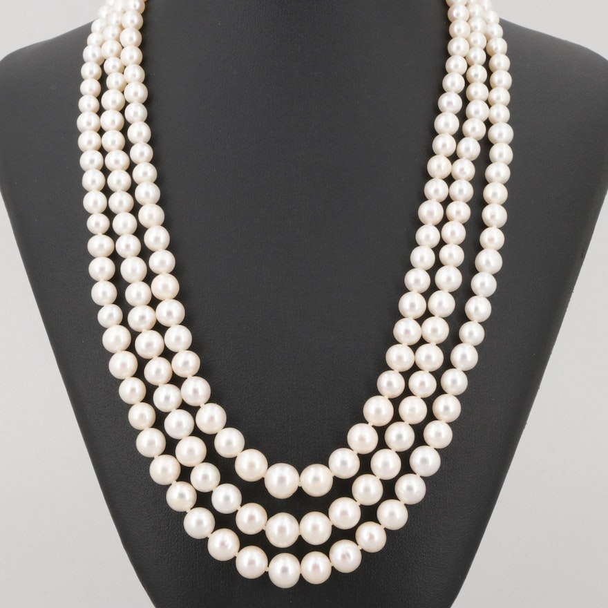c98ad2b3a7ba4 14K Yellow Gold Cultured Pearl Three Strand Graduated Hand-Knotted Necklace