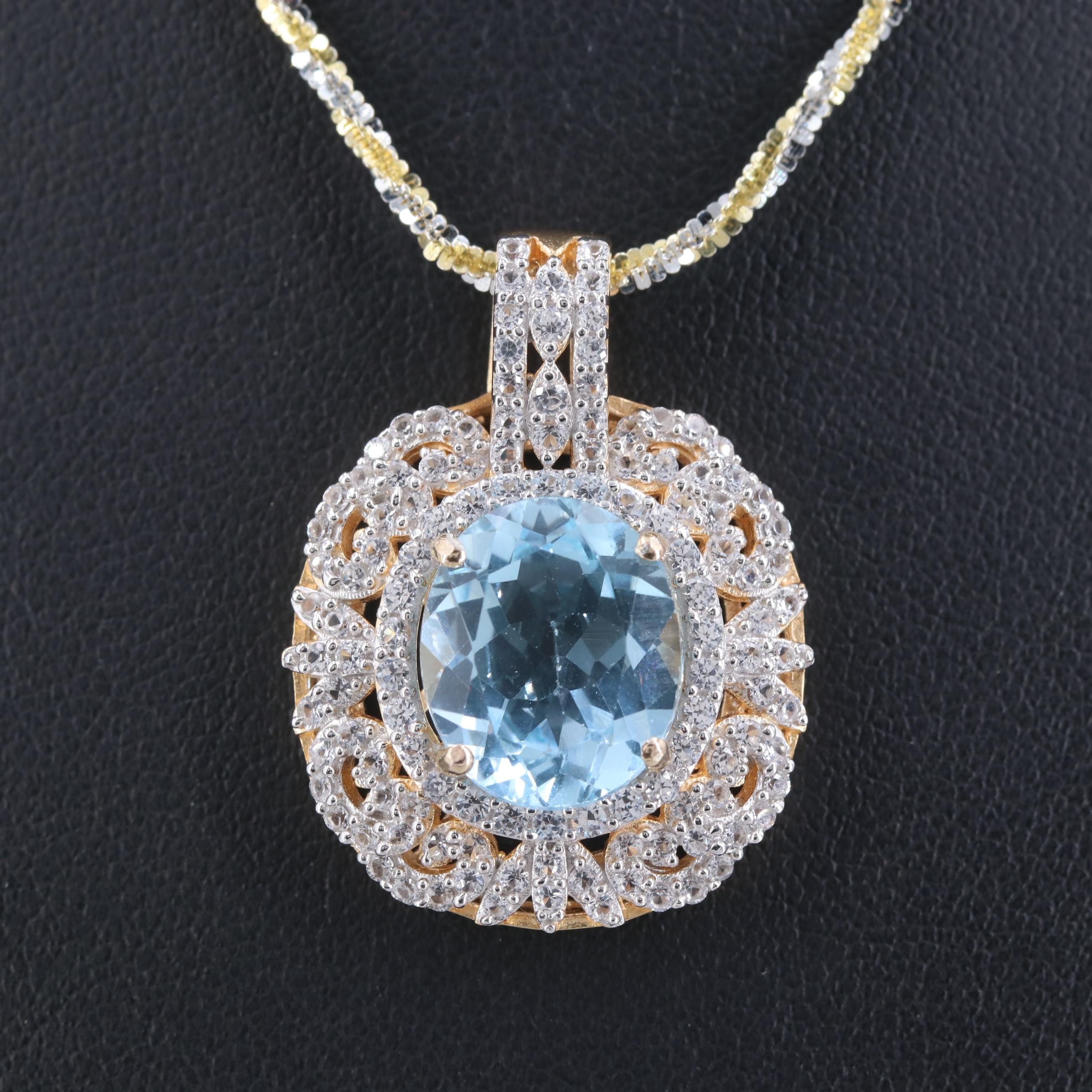 Gold Wash on Sterling Topaz and Sapphire Pendant with Two-Toned Sterling Chain