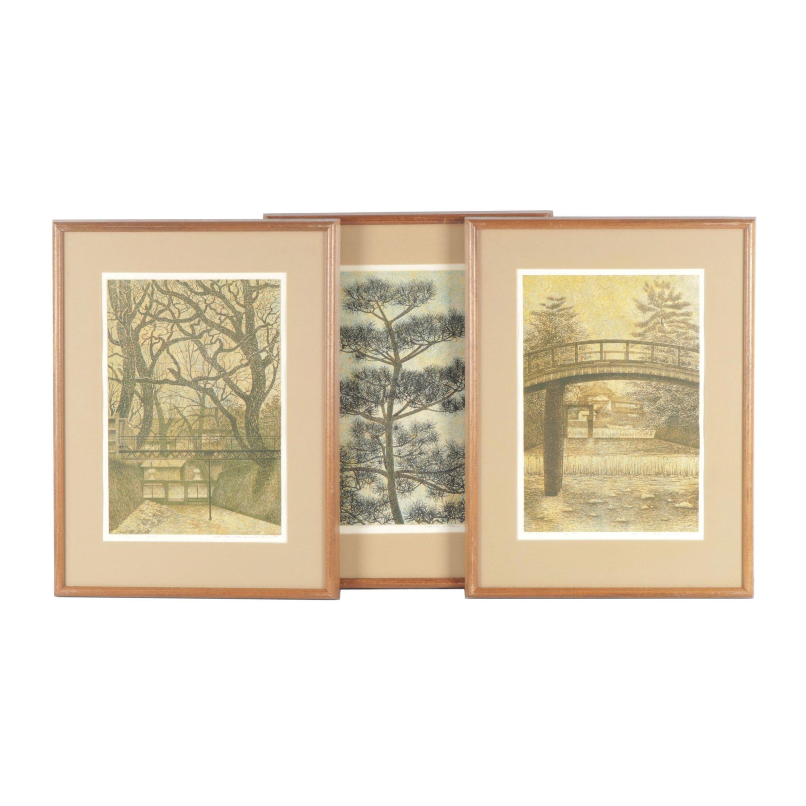 """Yukio Katsuda Colored Woodcuts """"No. 93"""", """"No. 94"""" and """"No. 95"""""""