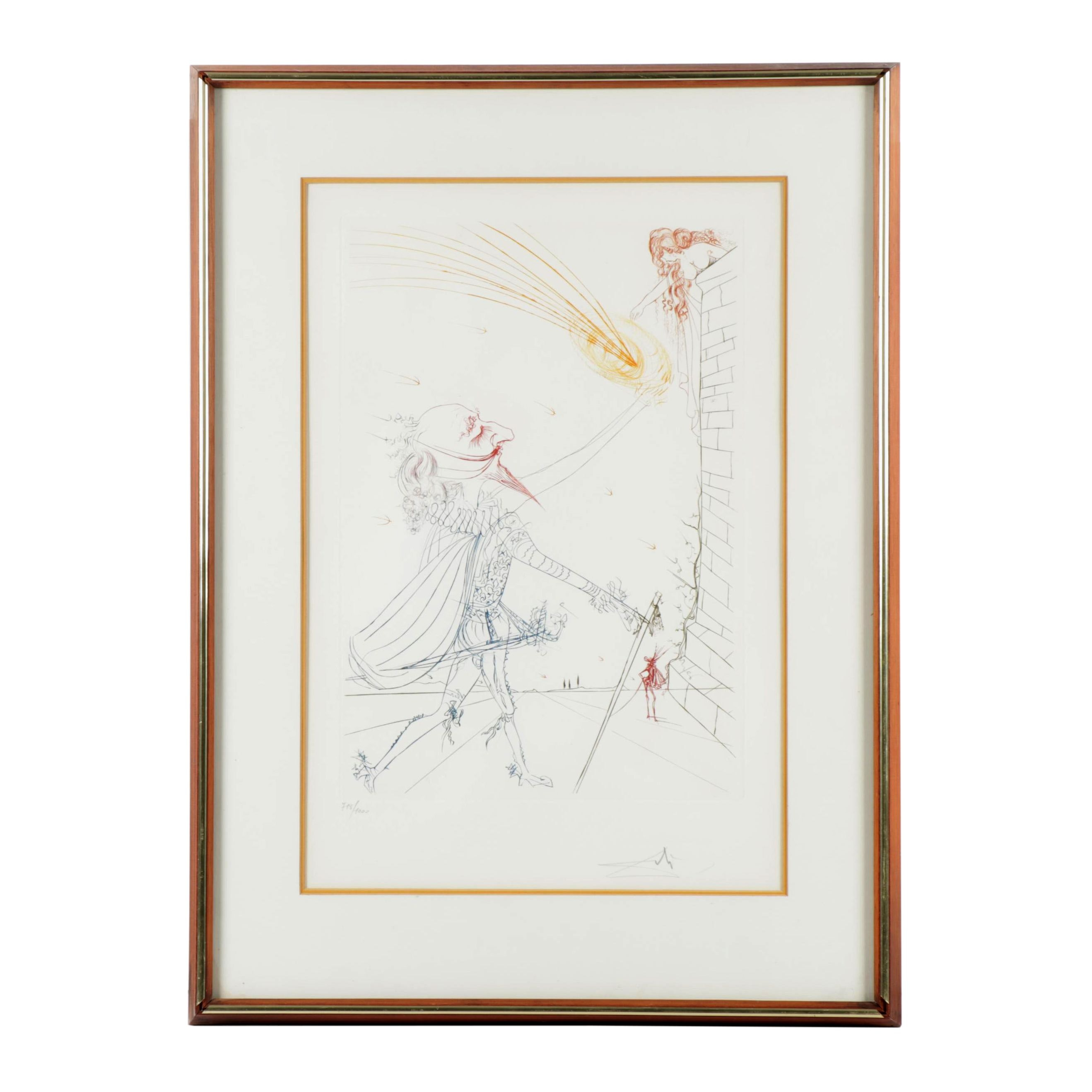 "Salvador Dalí Colored Etching ""Famous Loves: Cyrano de Bergerac and Roxanne"""