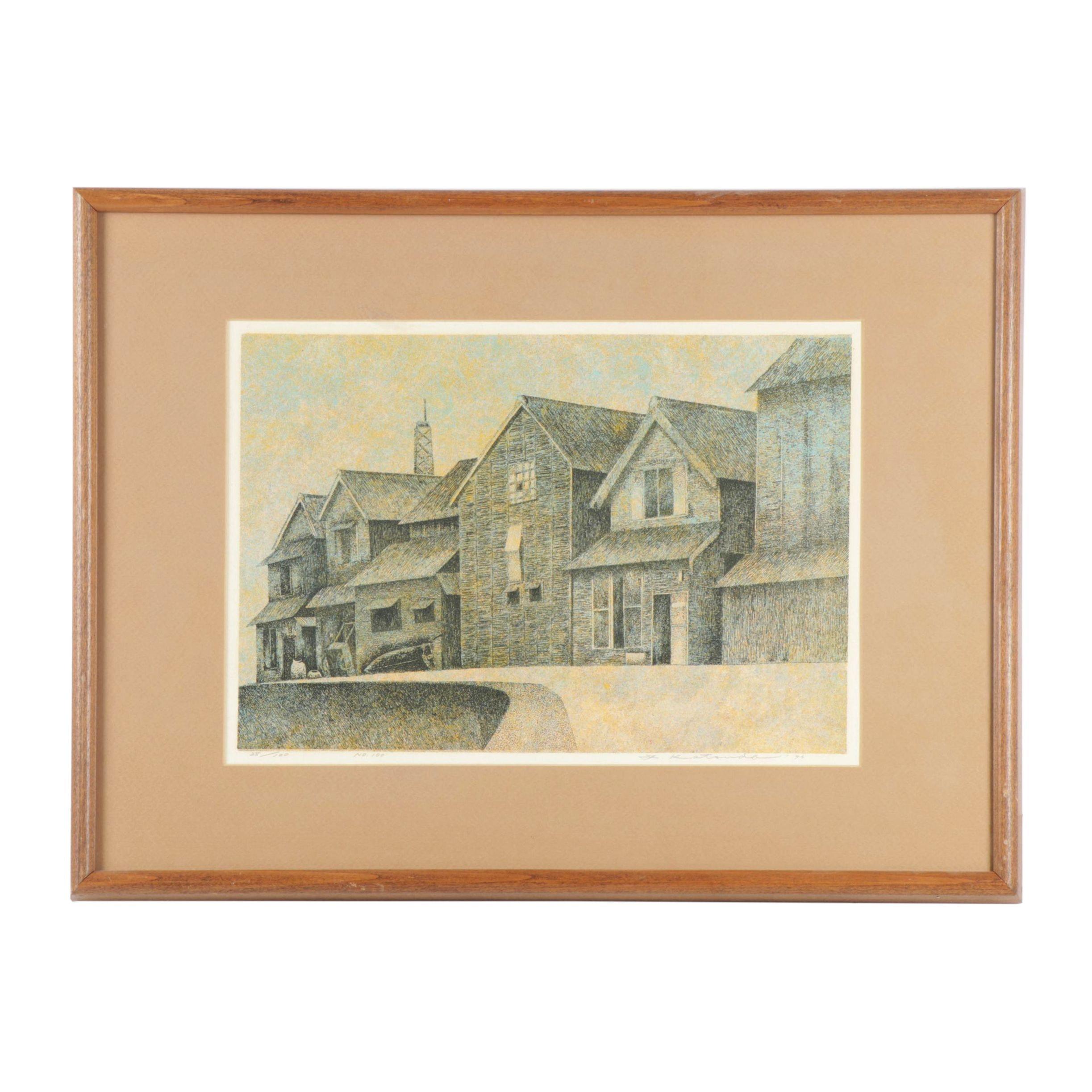 """Yukio Katsuda Colored Woodcut """" No. 100"""""""
