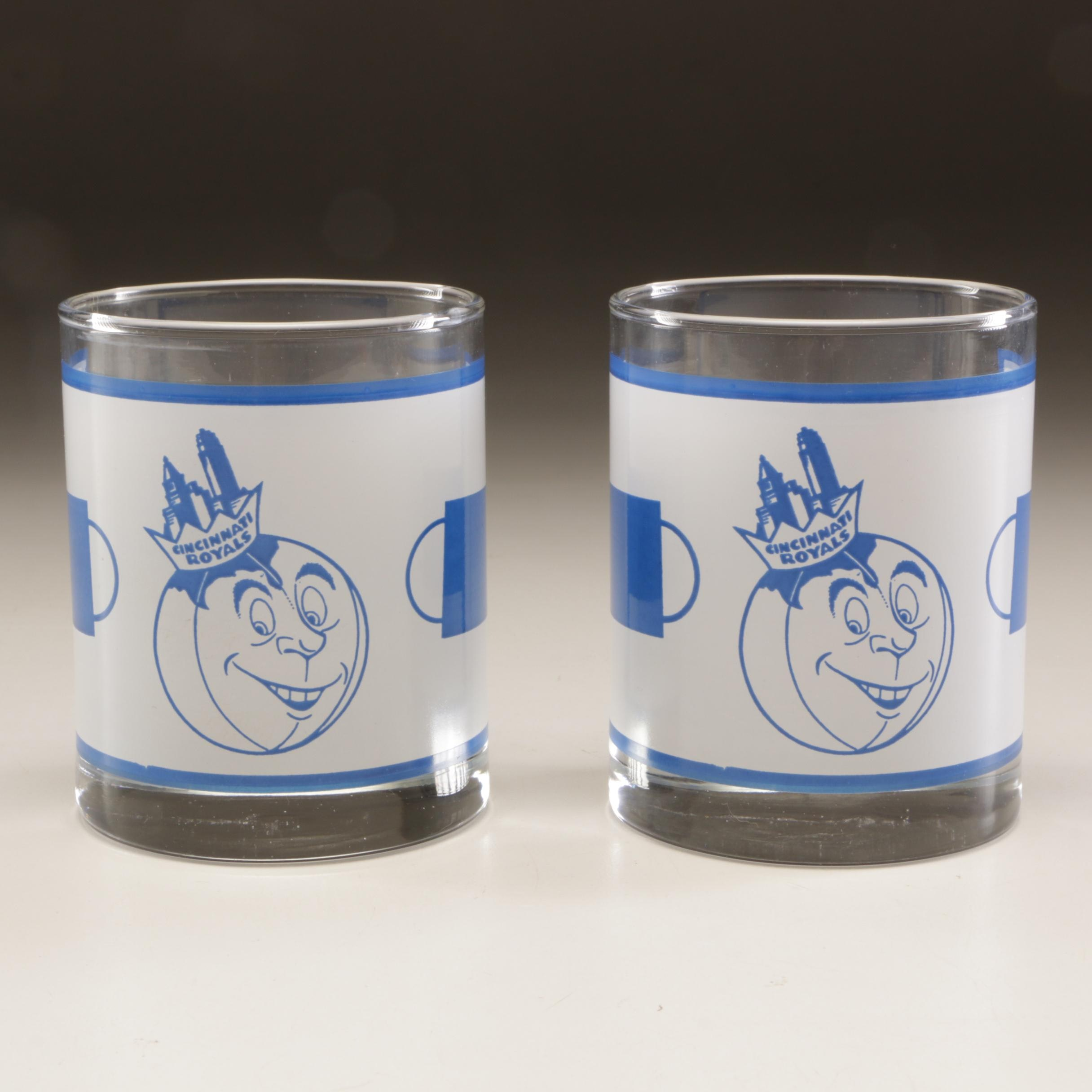 Two 1960s-1970s Cincinnati Royals NBA Basketball Mascot Tumblers