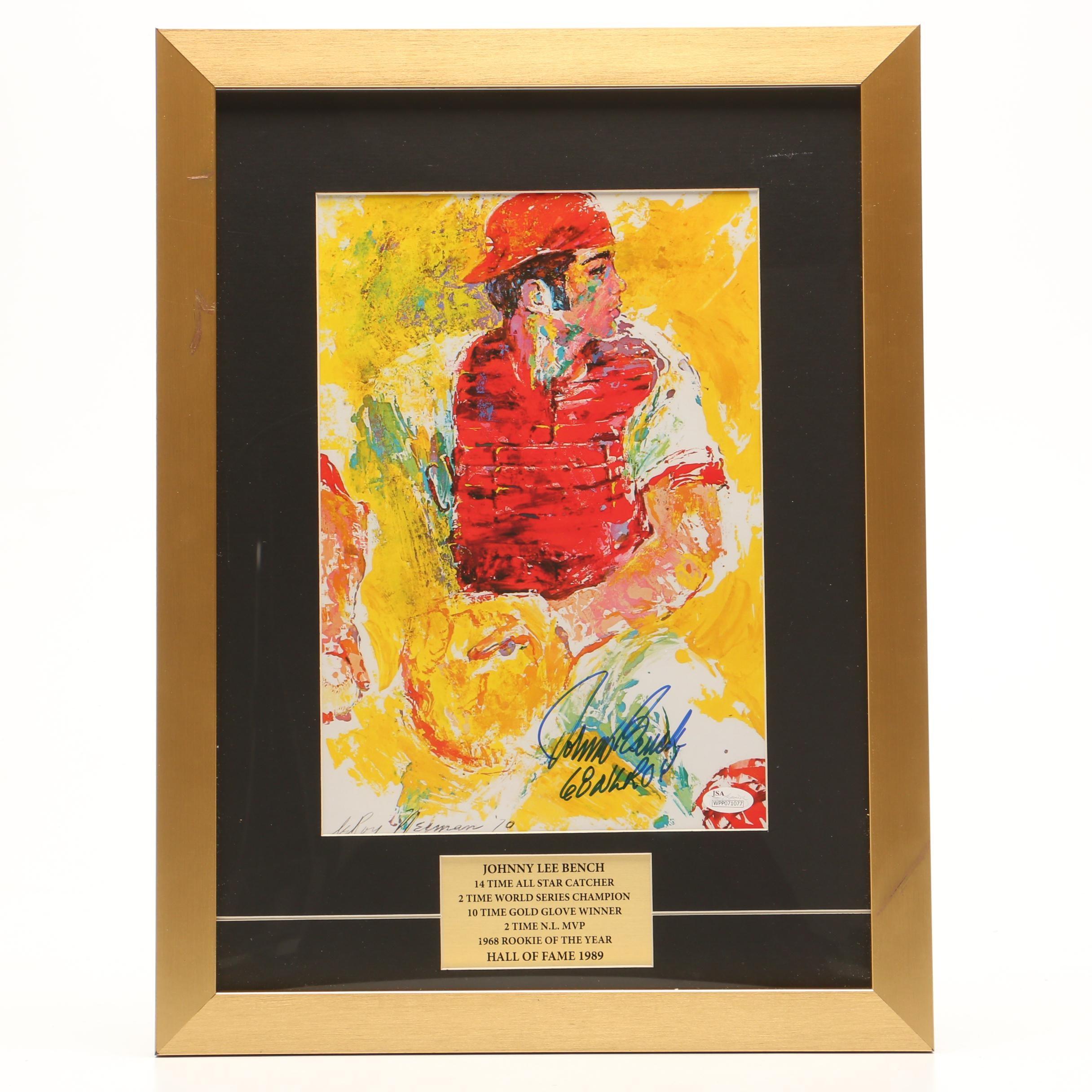 Framed Johnny Bench Signed Neiman Poster   COA