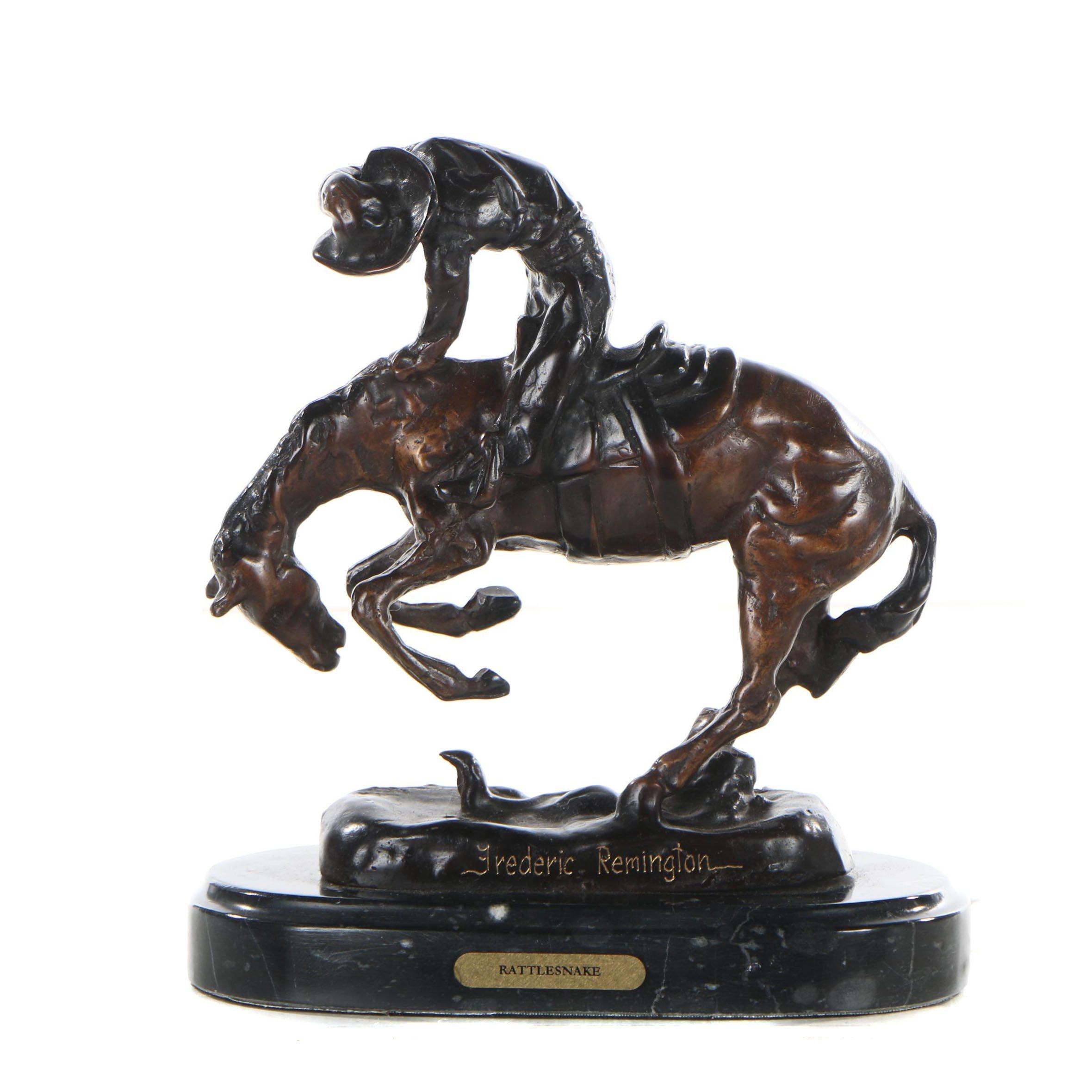 "Brass Sculpture after Frederic Remington ""Rattlesnake"""
