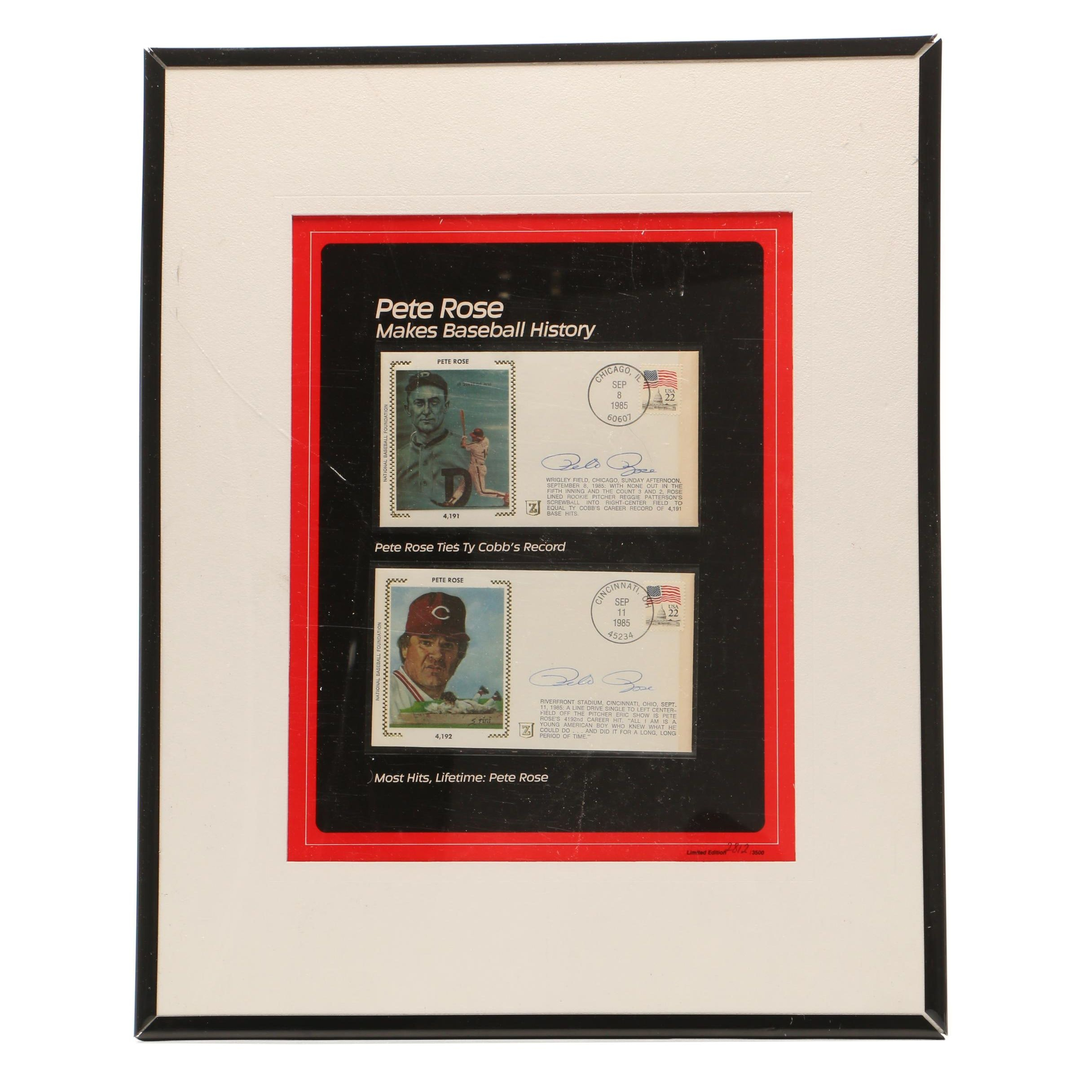 Framed Pete Rose Signed First Issue Hit Records Envelopes, Limited
