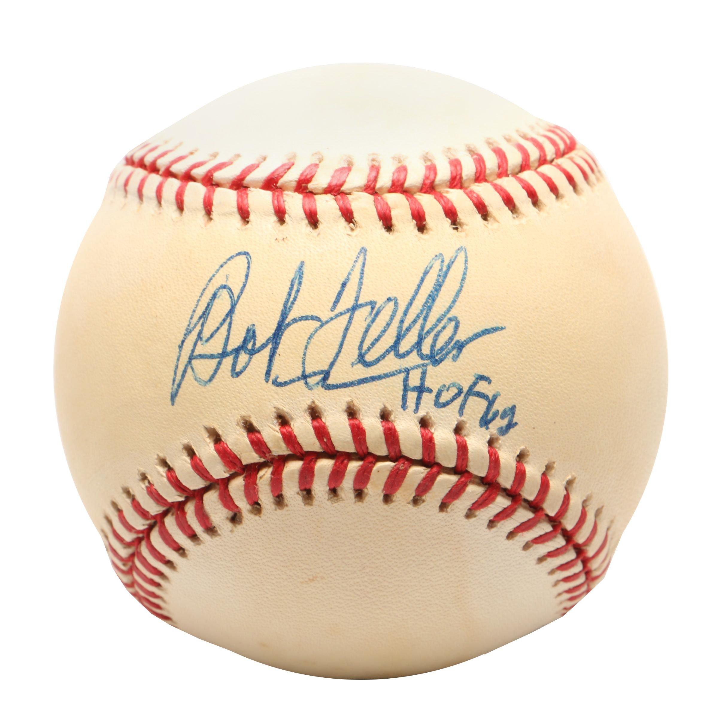(HOF) Bob Feller Signed Rawlings American League Baseball COA