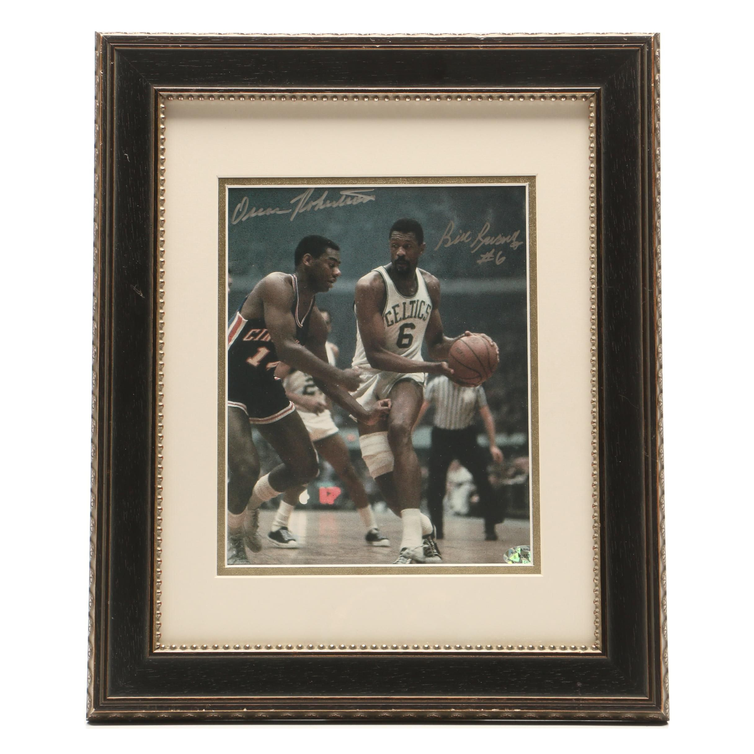 Framed Oscar Robertson and Bill Russell Signed Photo Print    COA - Russell Only