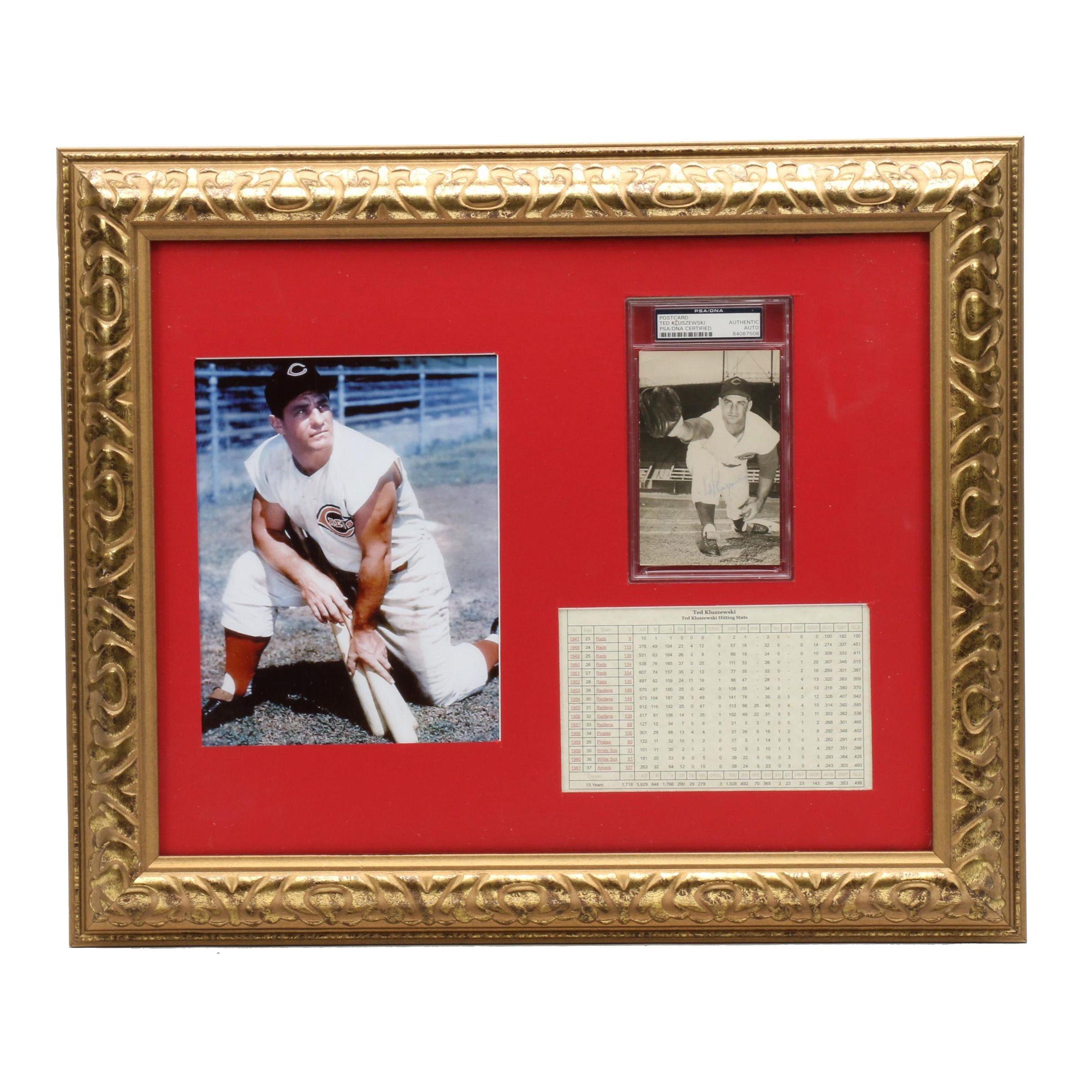Framed Ted Kluszewski Signed Display  COA