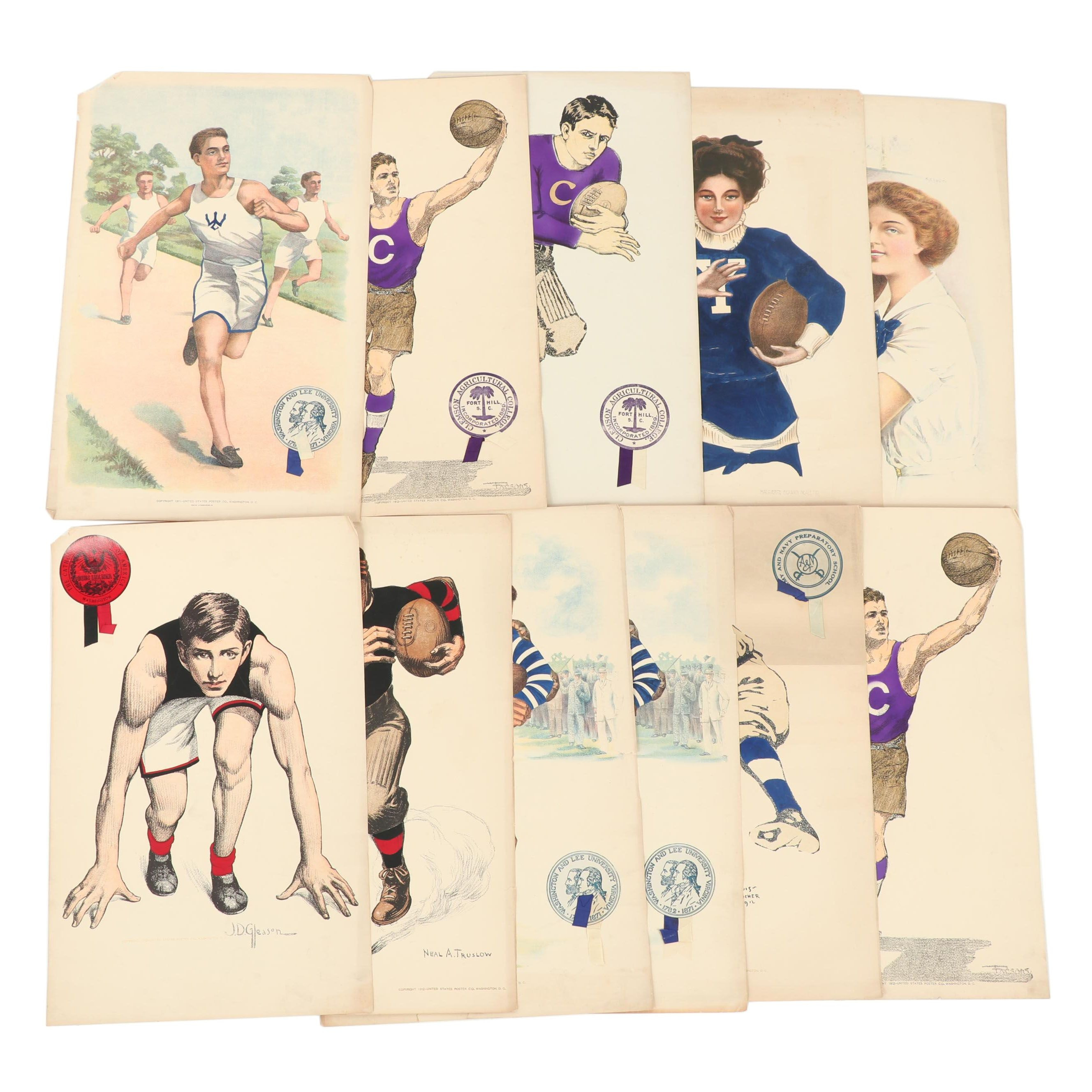 1910s Chromolithograph Sports Posters Published by the United States Poster Co.