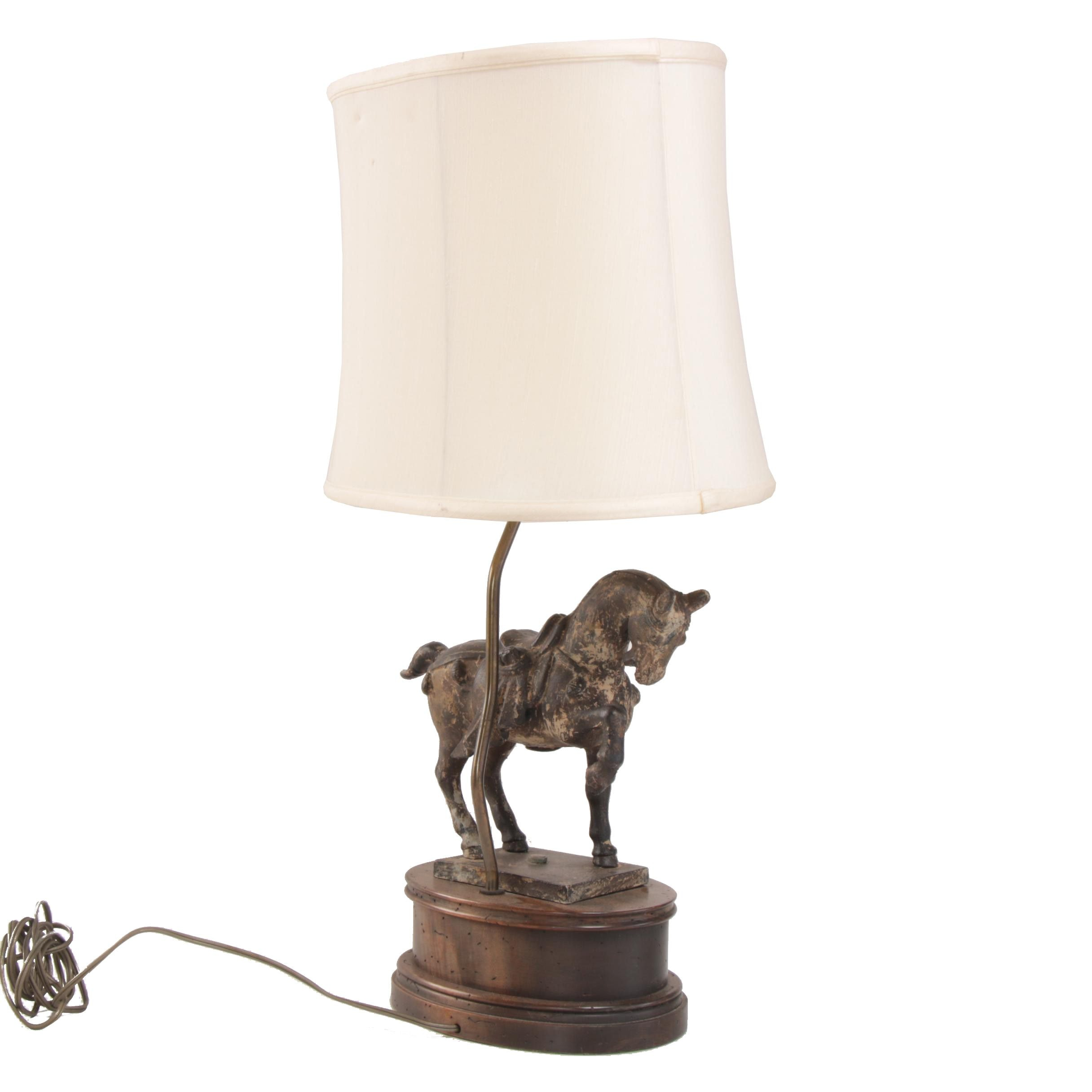 Cast Iron Horse on Wood Base Lamp with Roseart Silk Shade