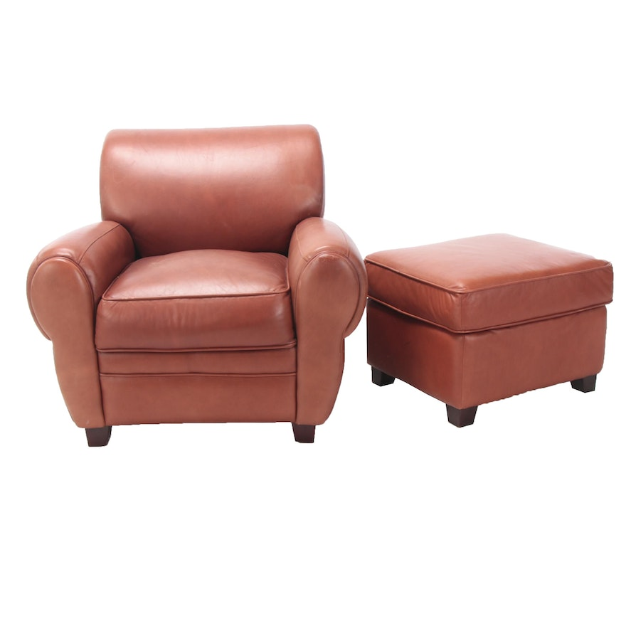 Groovy Decoro Brown Leather Armchair And Ottoman Unemploymentrelief Wooden Chair Designs For Living Room Unemploymentrelieforg
