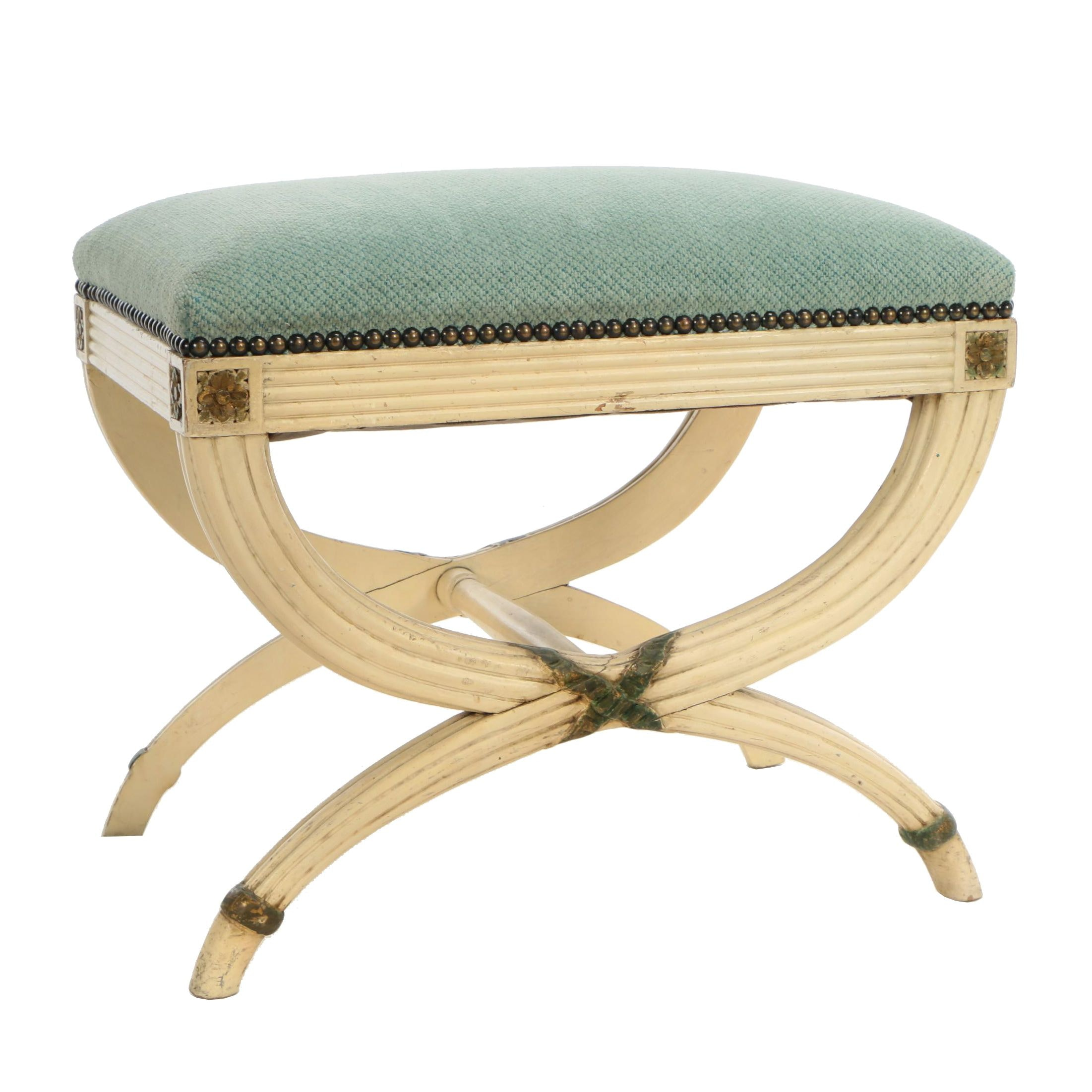 Contemporary Empire Style Painted Wood and Chenille Stool
