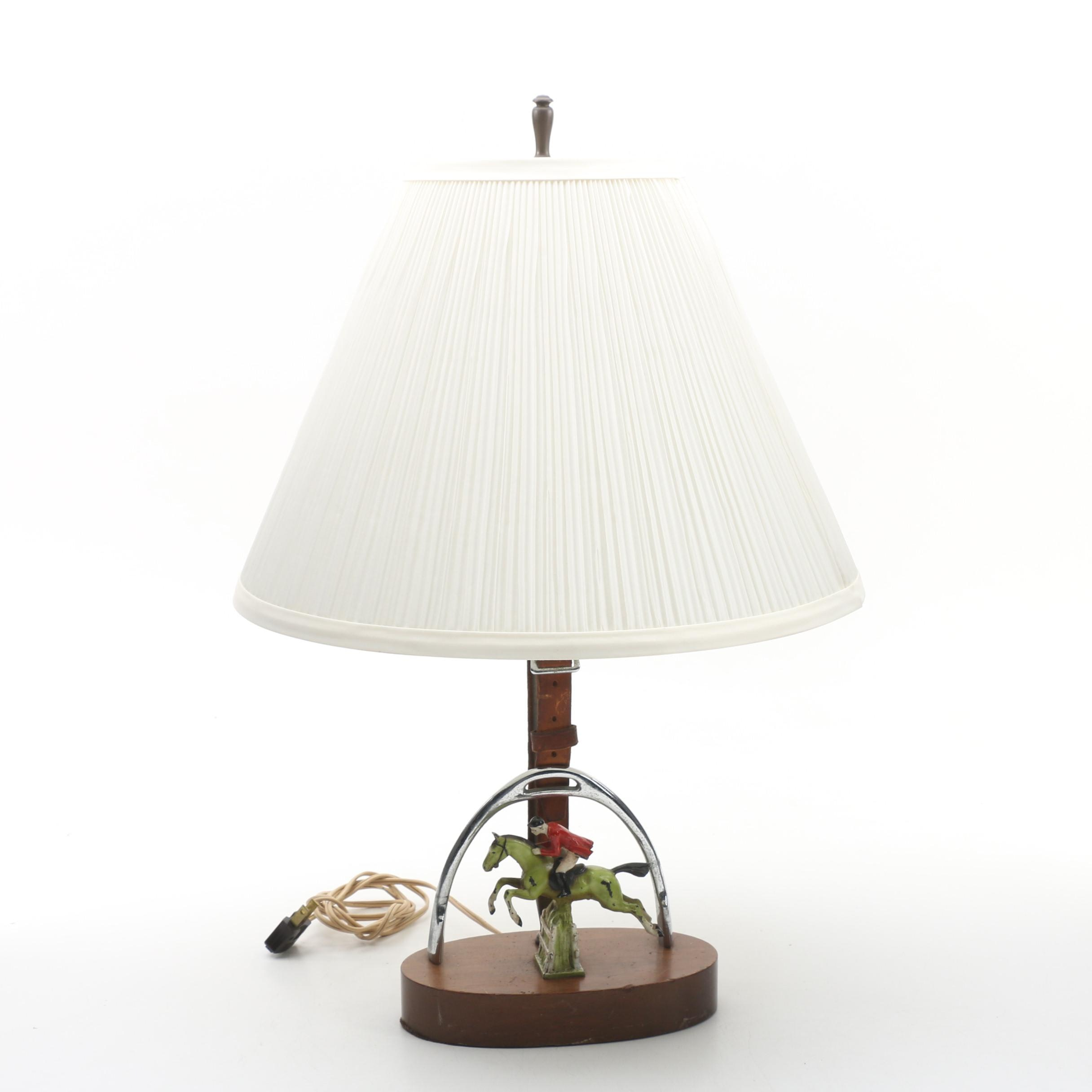 Equestrian-Themed Horse and Jockey Table Lamp with Shade
