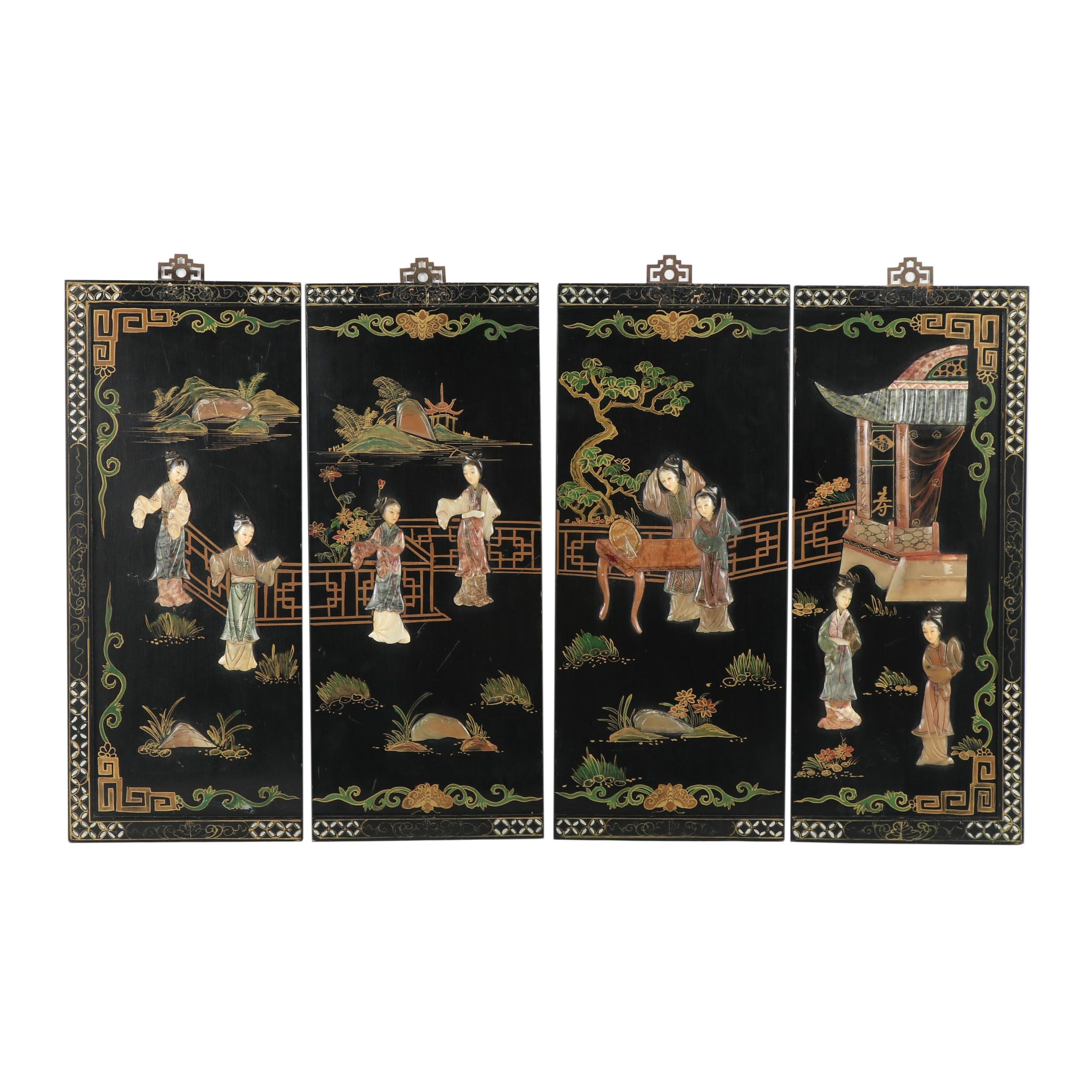 Chinese Hand-Painted Black Lacquer Panels with Stone Relief