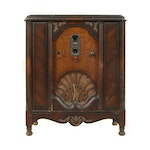 Victorian Style Burl Wood Veneer Radio Cabinet by Philco, Early/Mid-20th Century
