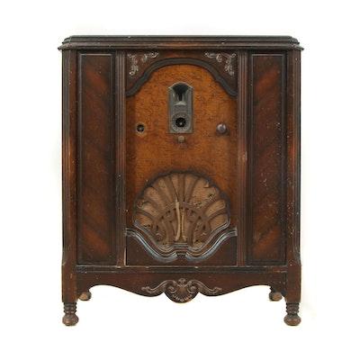 Victorian Style Burl Wood Veneer Radio Cabinet by Philco, Early/Mid-20th Century
