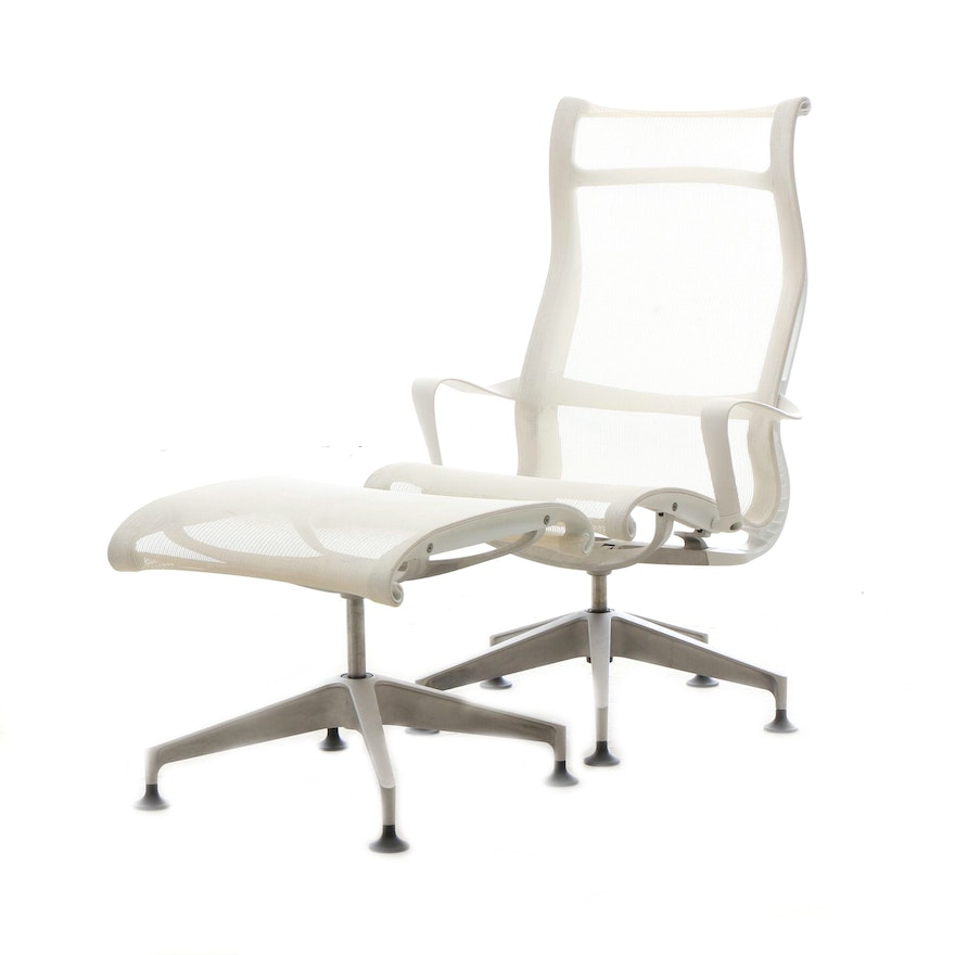 Superb Herman Miller Setu Lounge Chair With Ottoman In White Ocoug Best Dining Table And Chair Ideas Images Ocougorg