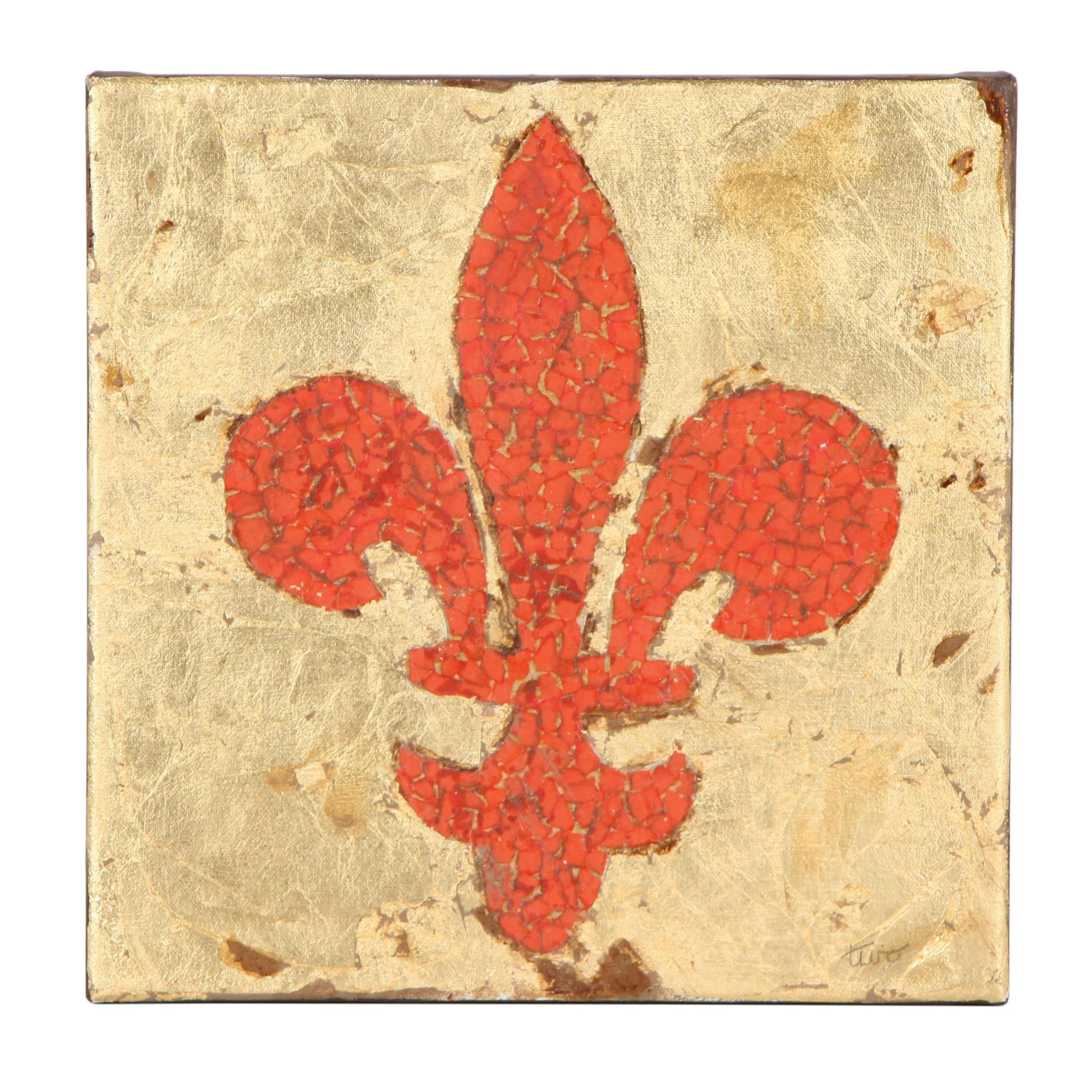 Mixed Media Painting of the Fleur-di-Lis