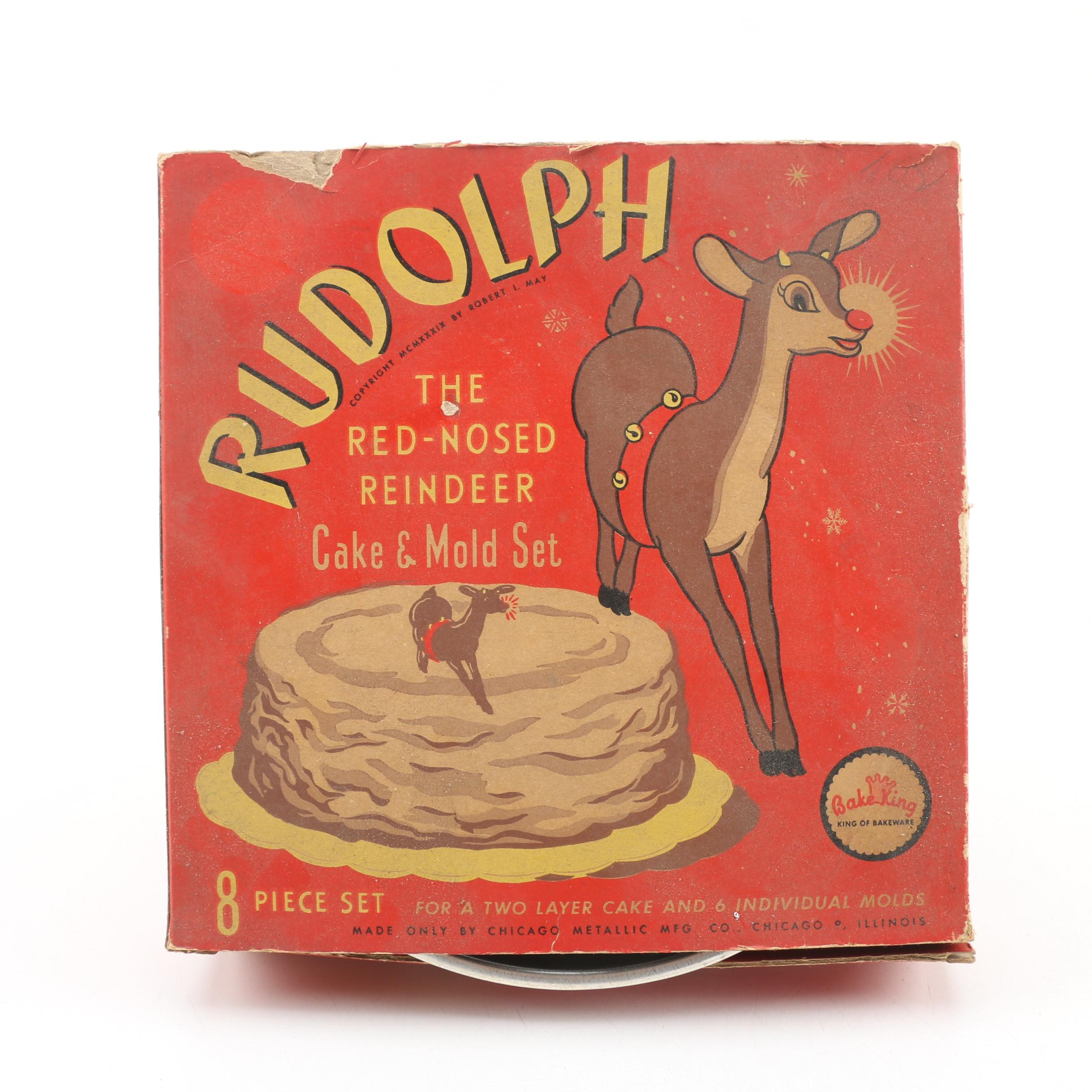 Bake King Rudolph the Red-Nosed Reindeer Cake and Mold Set, Circa 1939