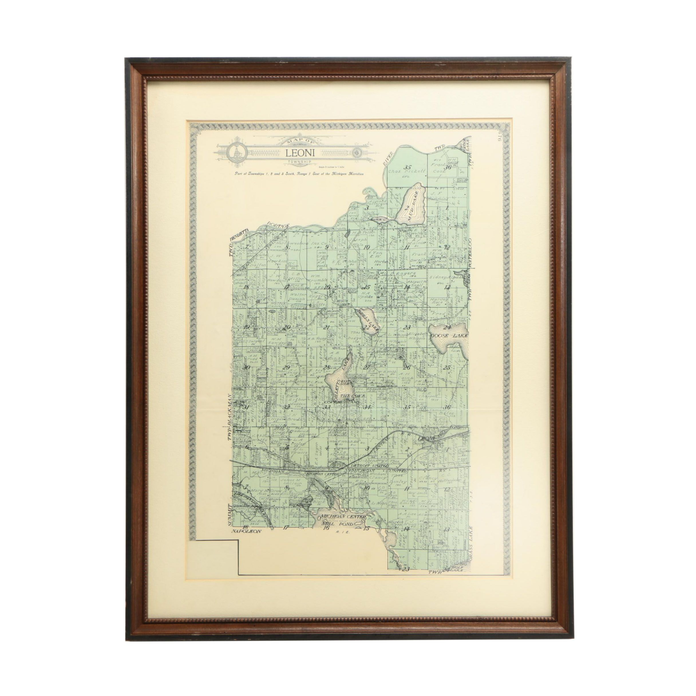 Framed Map of Leoni Township, Michigan, 1900s