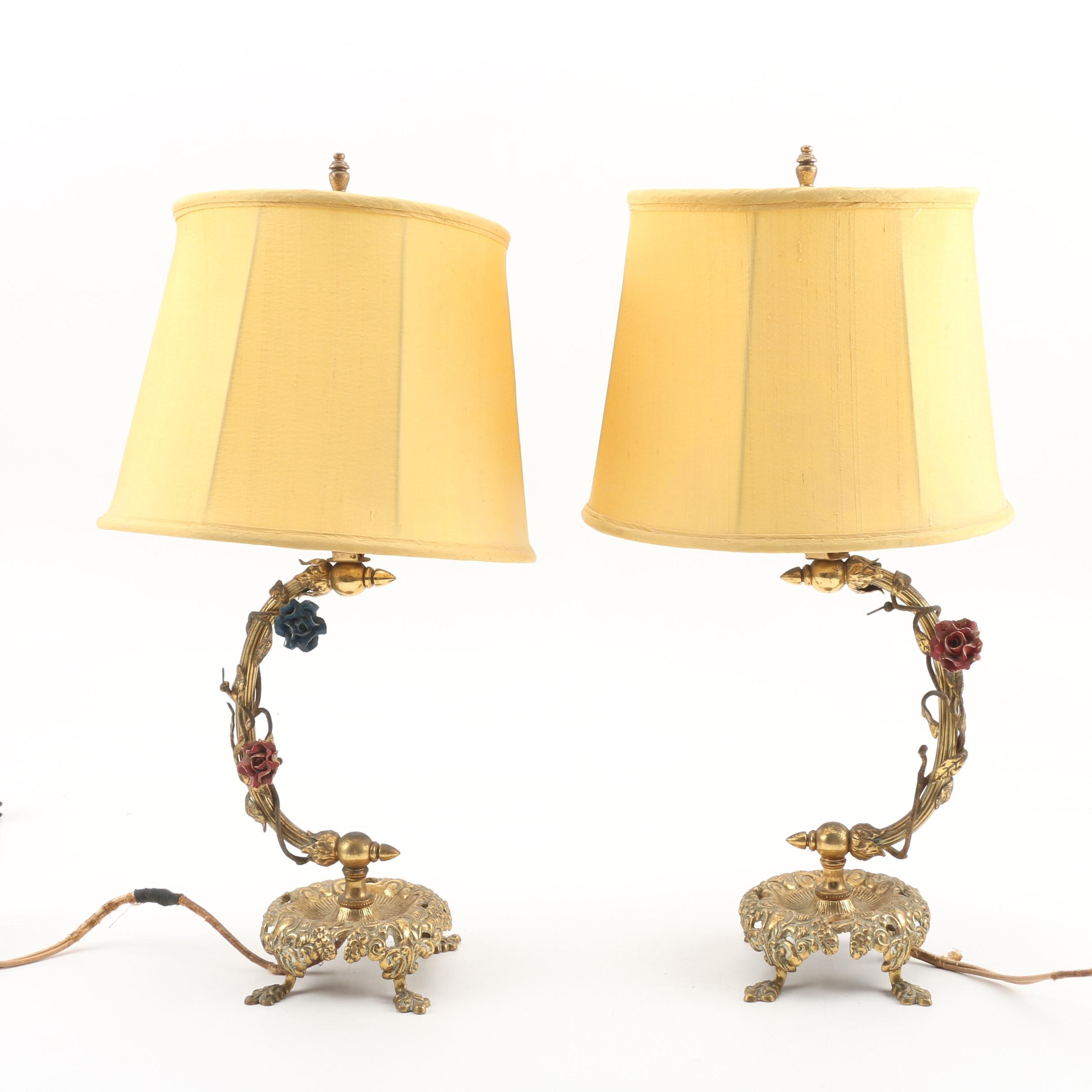 Matching Footed Brass Table Lamps with Shades