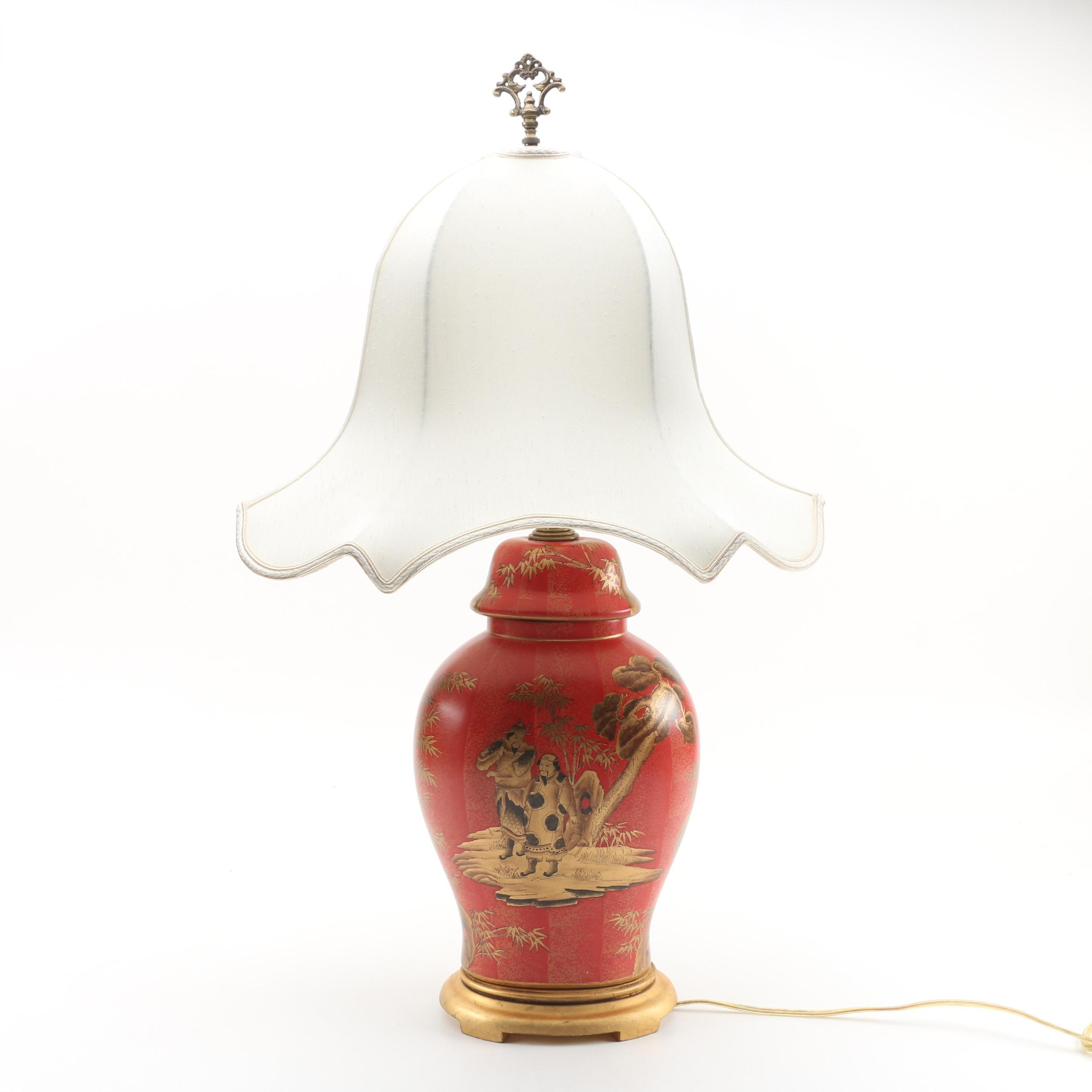 East Asian Style Ceramic Table Lamp with Shade