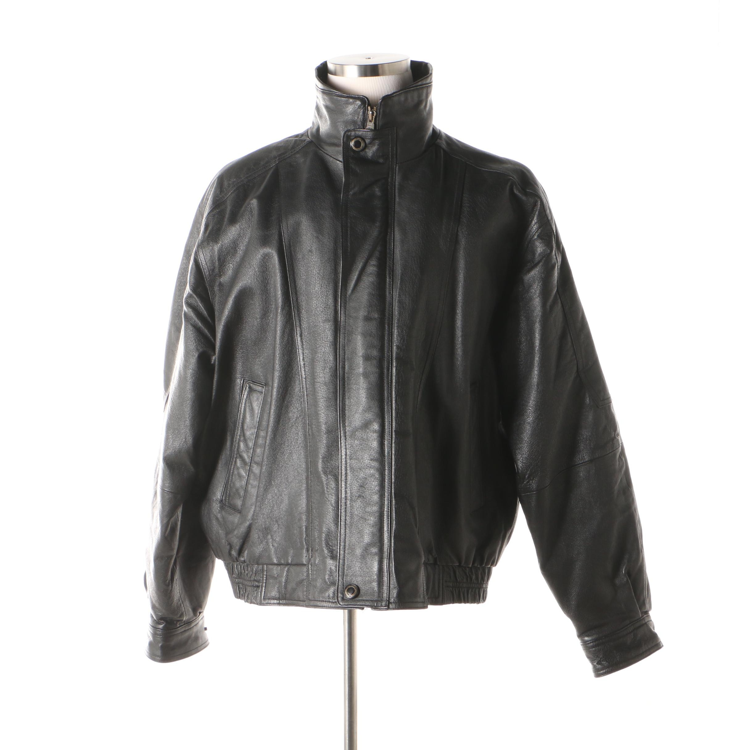 Men's Members Only Silk Road Black Leather Insulated Zip Jacket