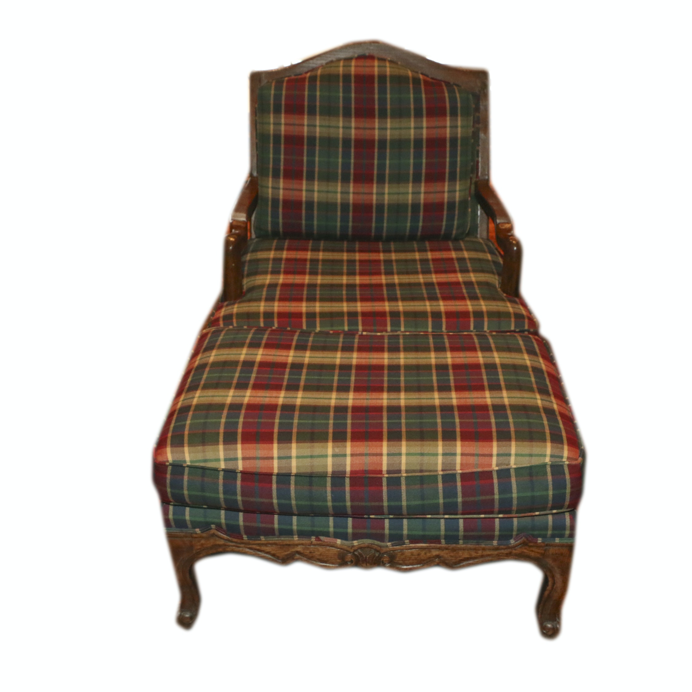 French Provincial Style Plaid-Upholstered Wooden Bergere Chair and Ottoman