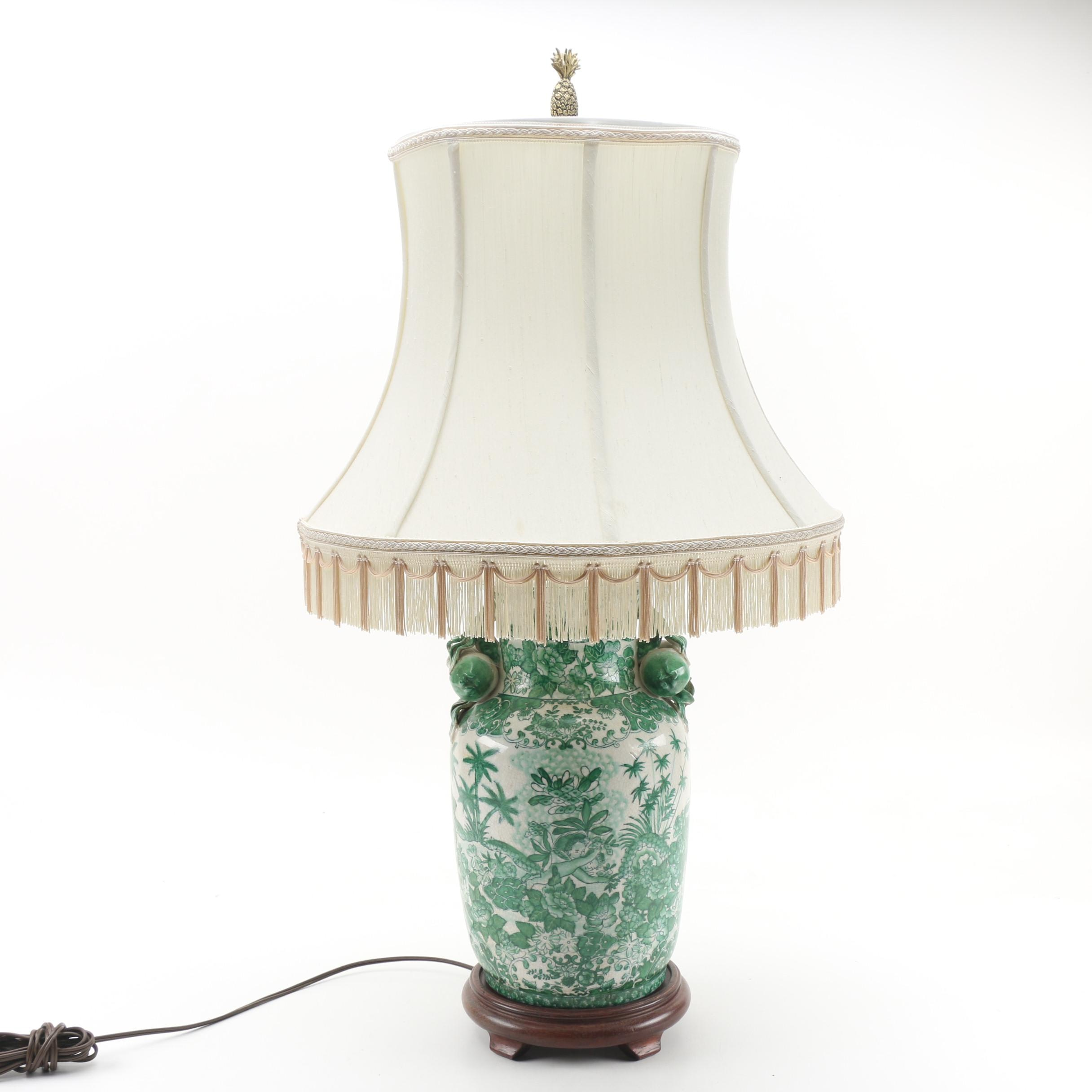 Repurposed Ceramic Vase Table Lamp with Shade and Pineapple Finial