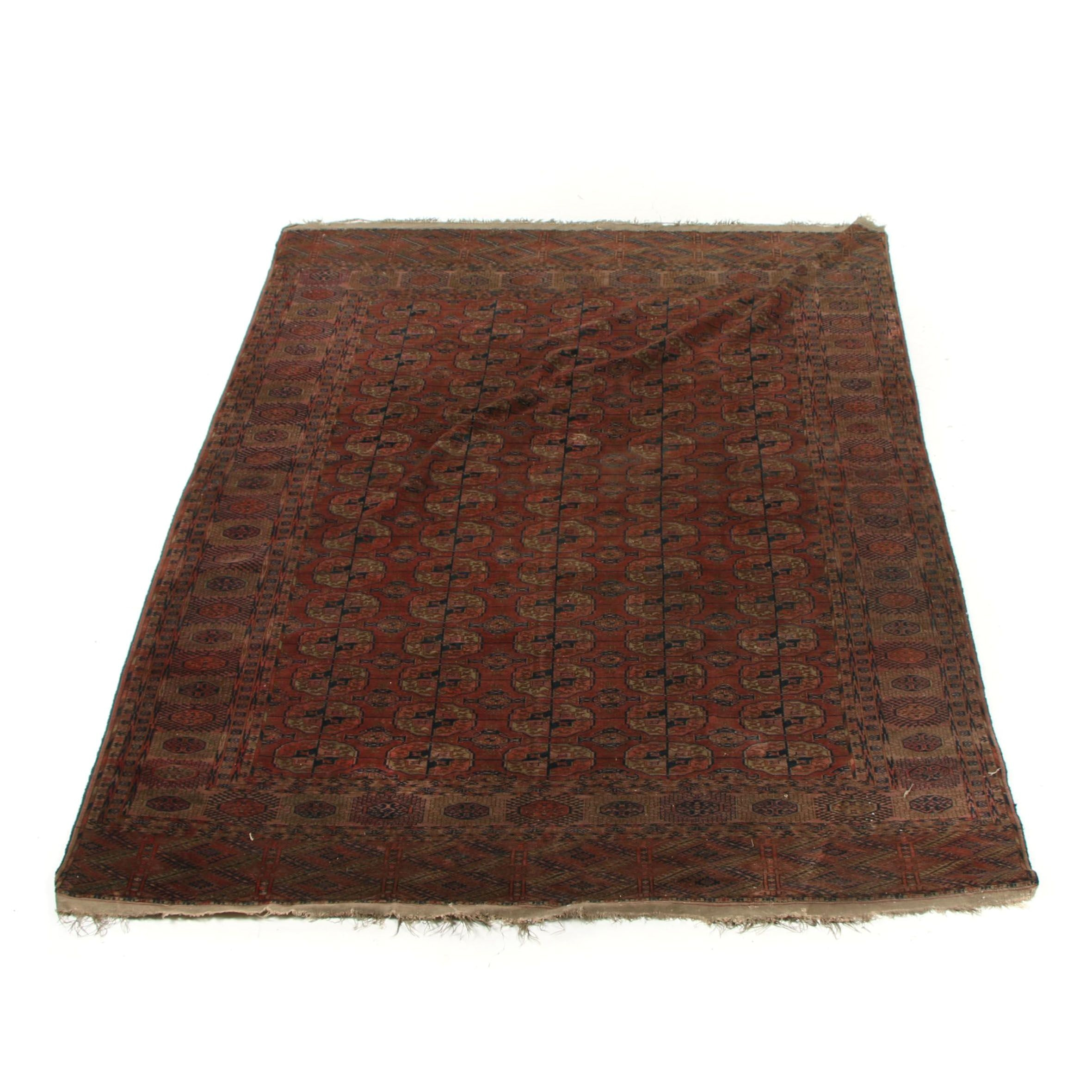 Hand-Knotted Turkmen Afghani Wool Area Rug