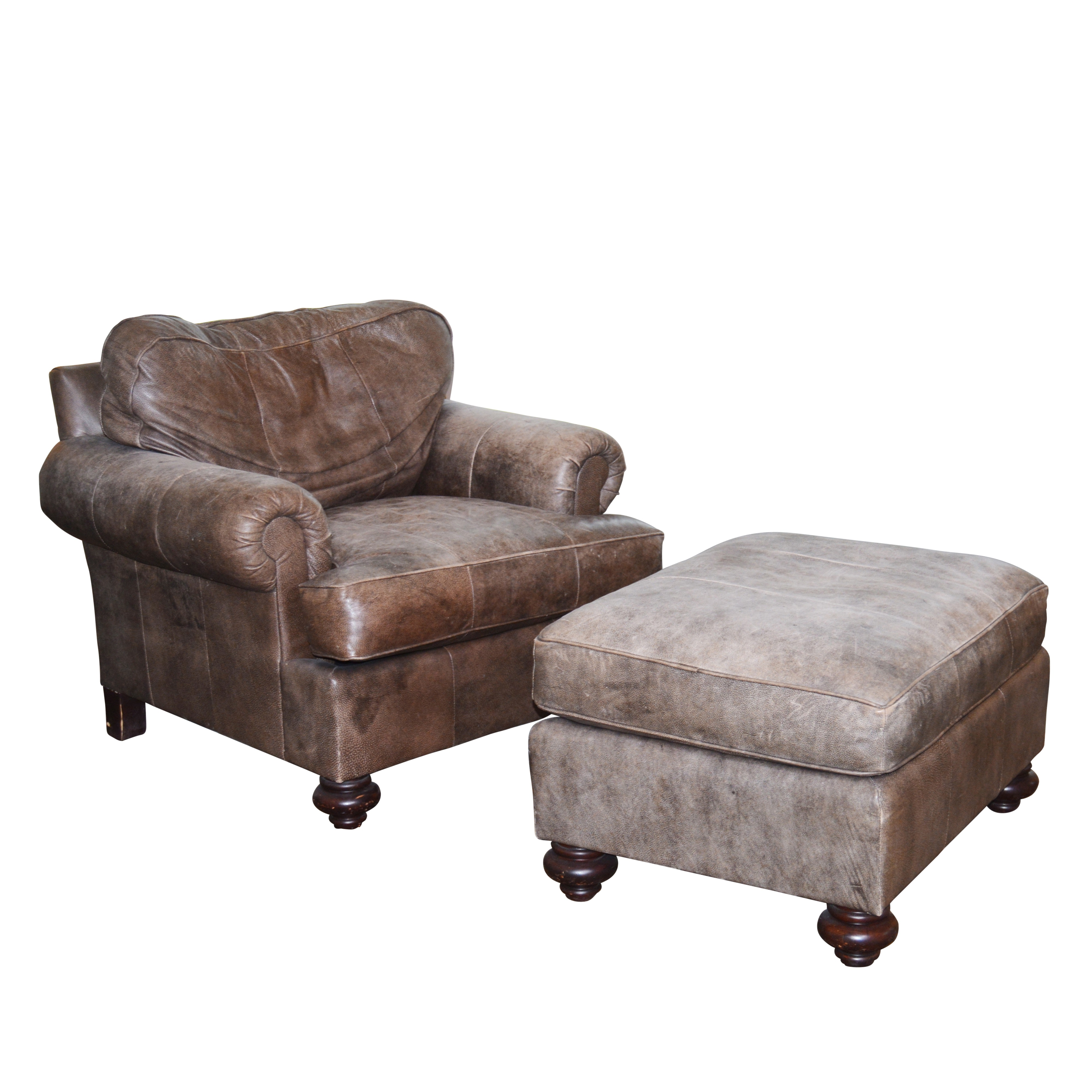Dark Mocha Leather Chair and Ottoman by Henredon, 21st Century