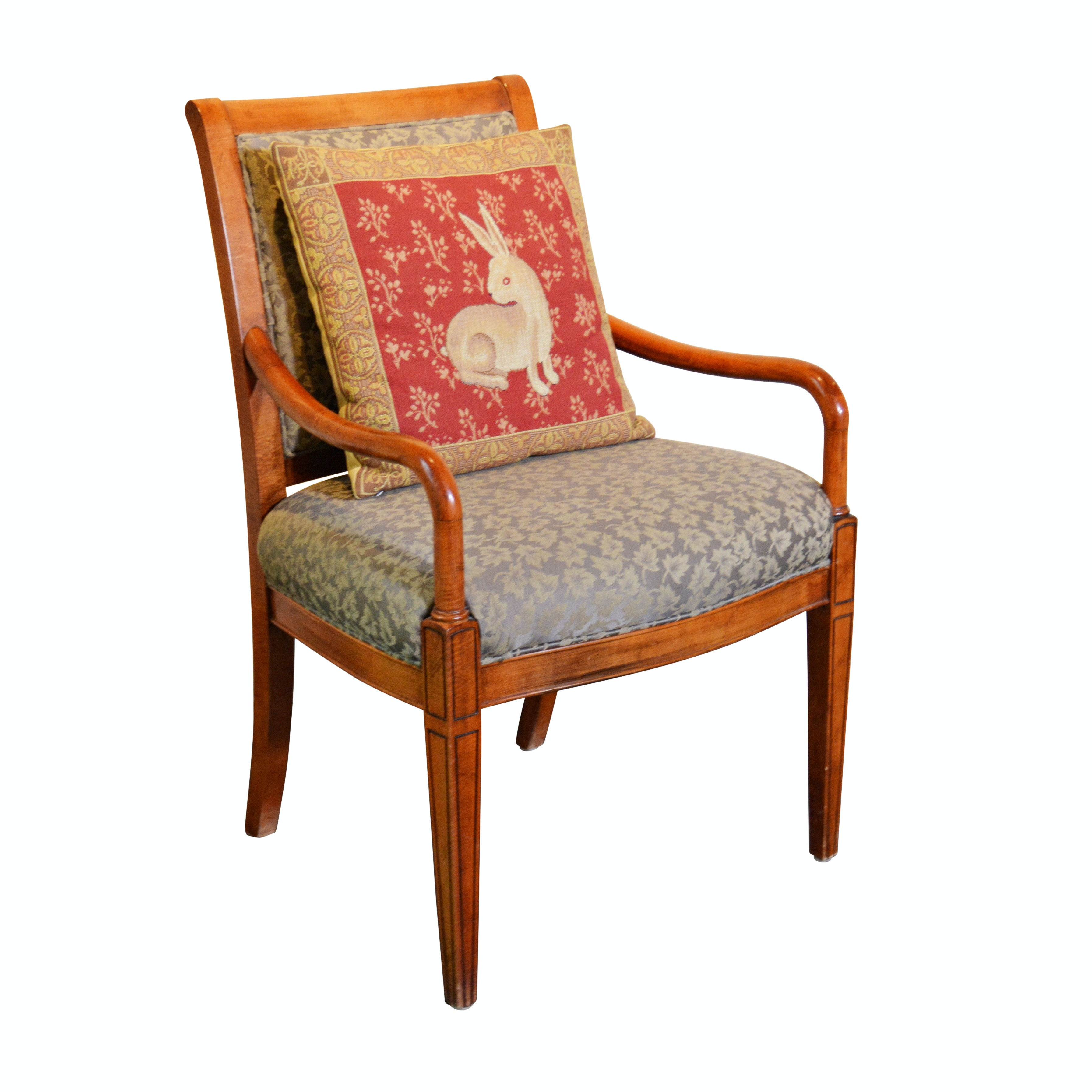 Leaf Upholstered Armchair and J. Pansu Rabbit Pillow Late 20th Century