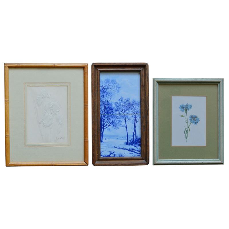 Botanical Lithograph and Etching with Framed Tile