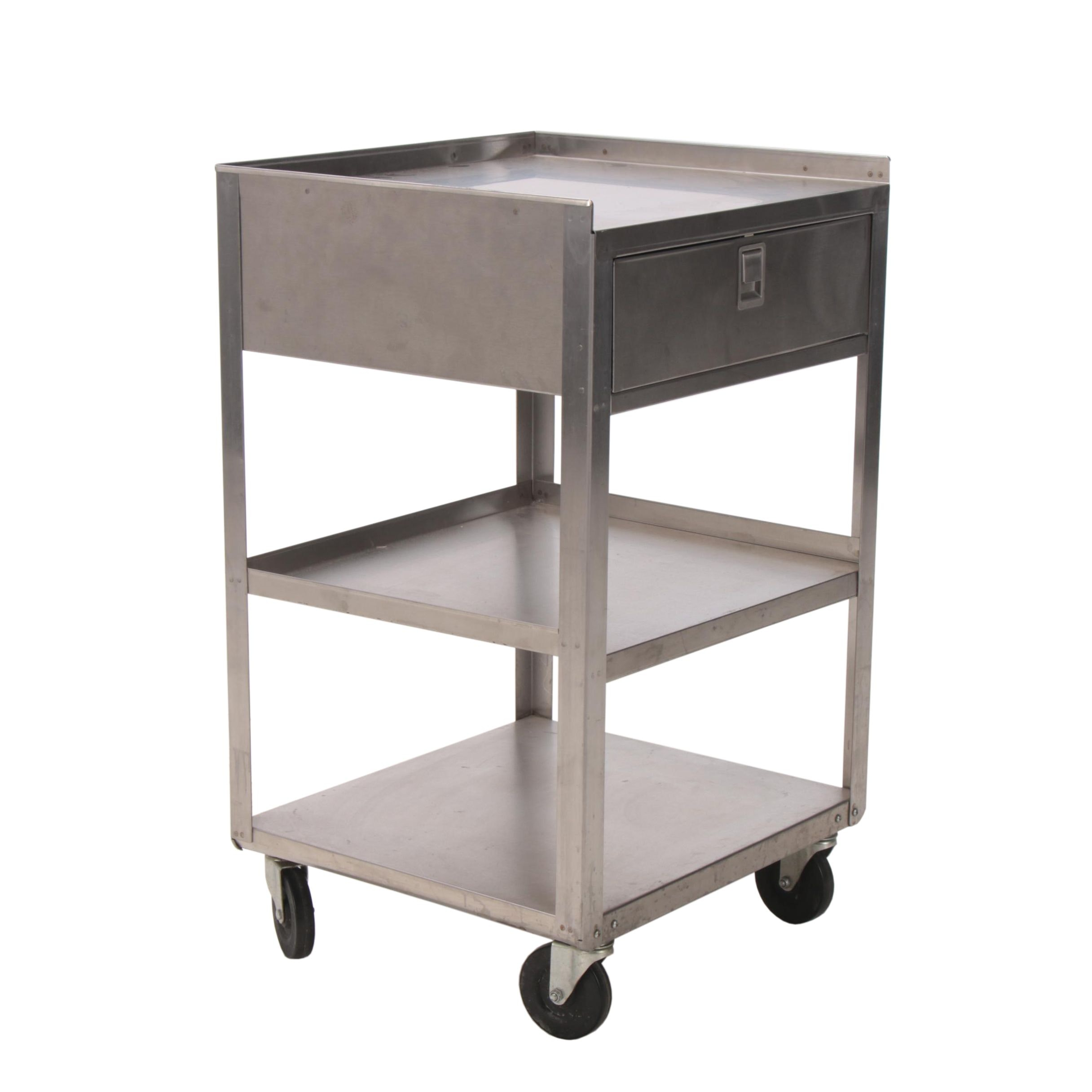 Industrial Stainless Steel Three-Tier Cart, 20th Century