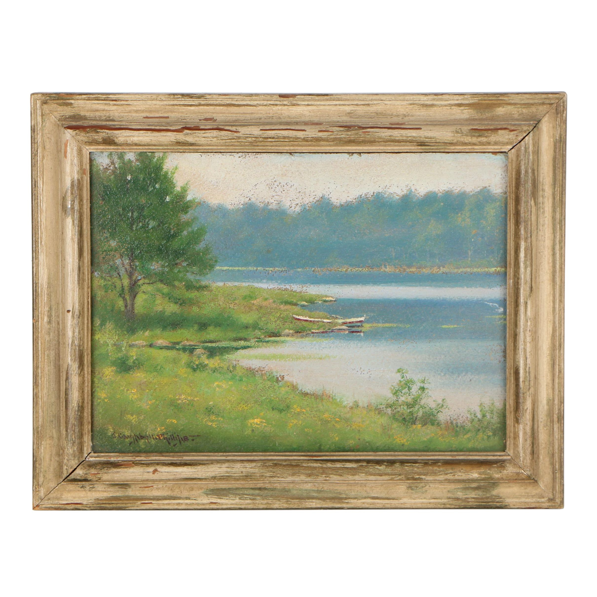 J. Campbell Phillips Landscape Oil Painting, Early 20th Century