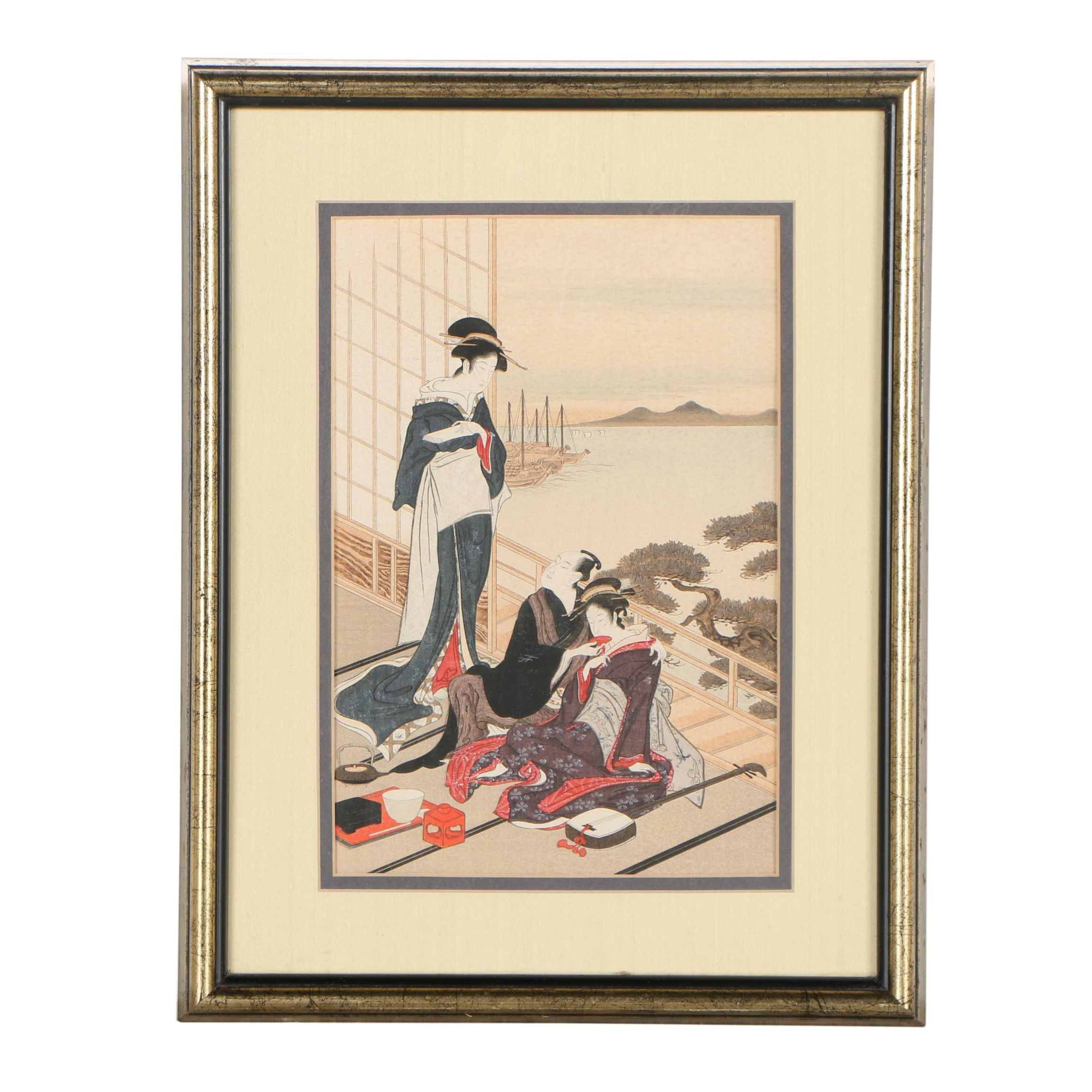 Japanese Woodblock Reprint Attributed to Toyoharu Utagawa