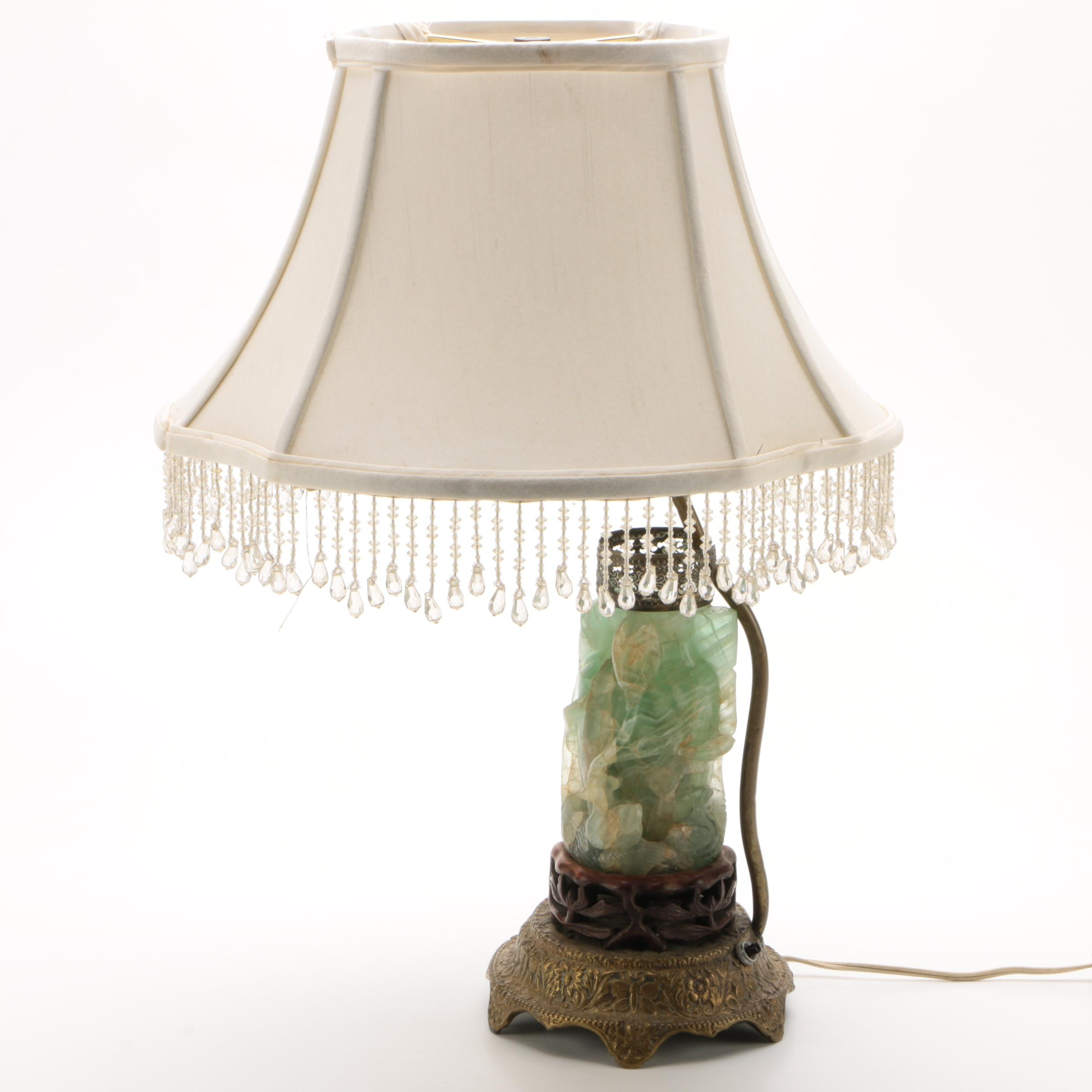 Carved Bowenite and Metal Table Lamp