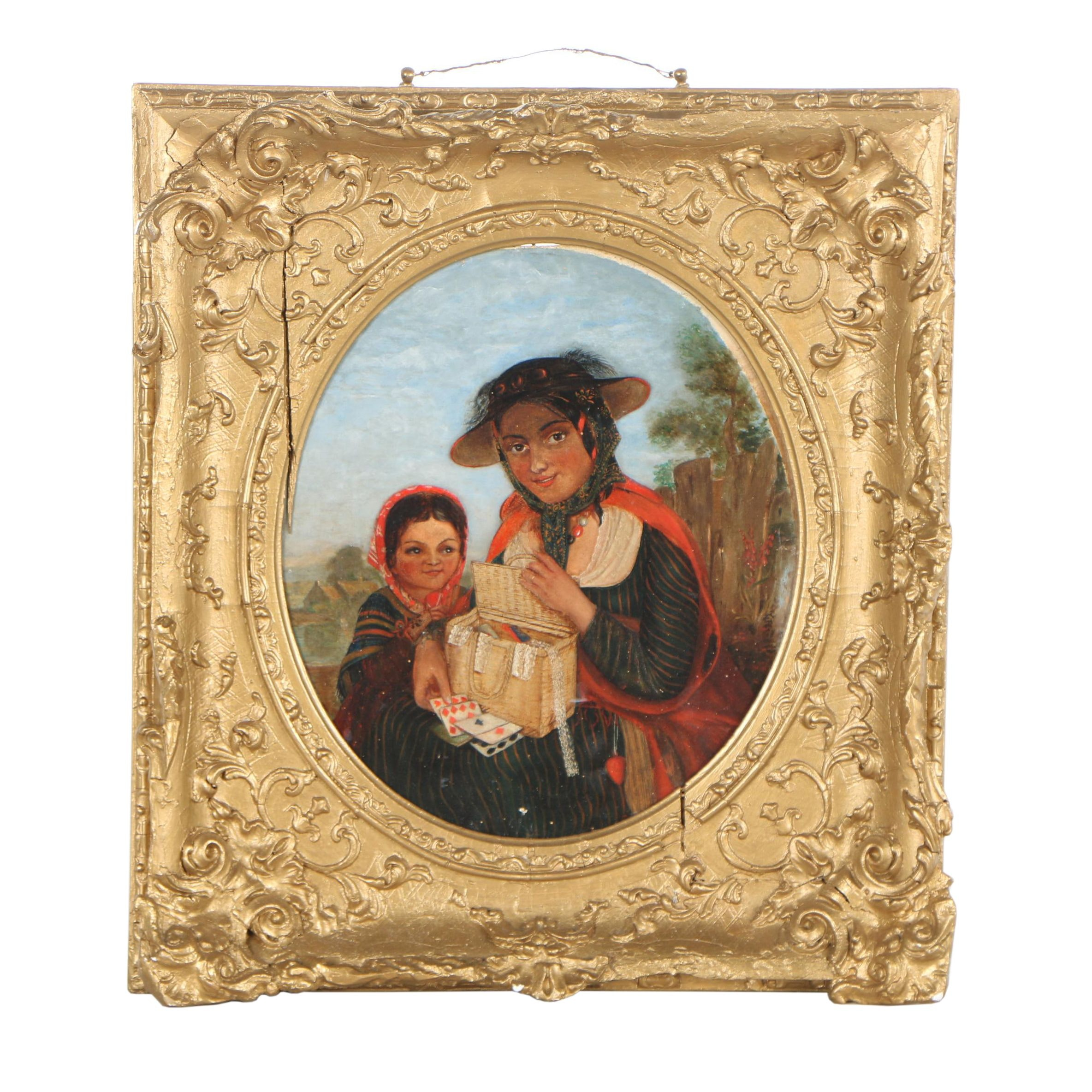 Academic Style Portrait Oil Painting, late 19th century
