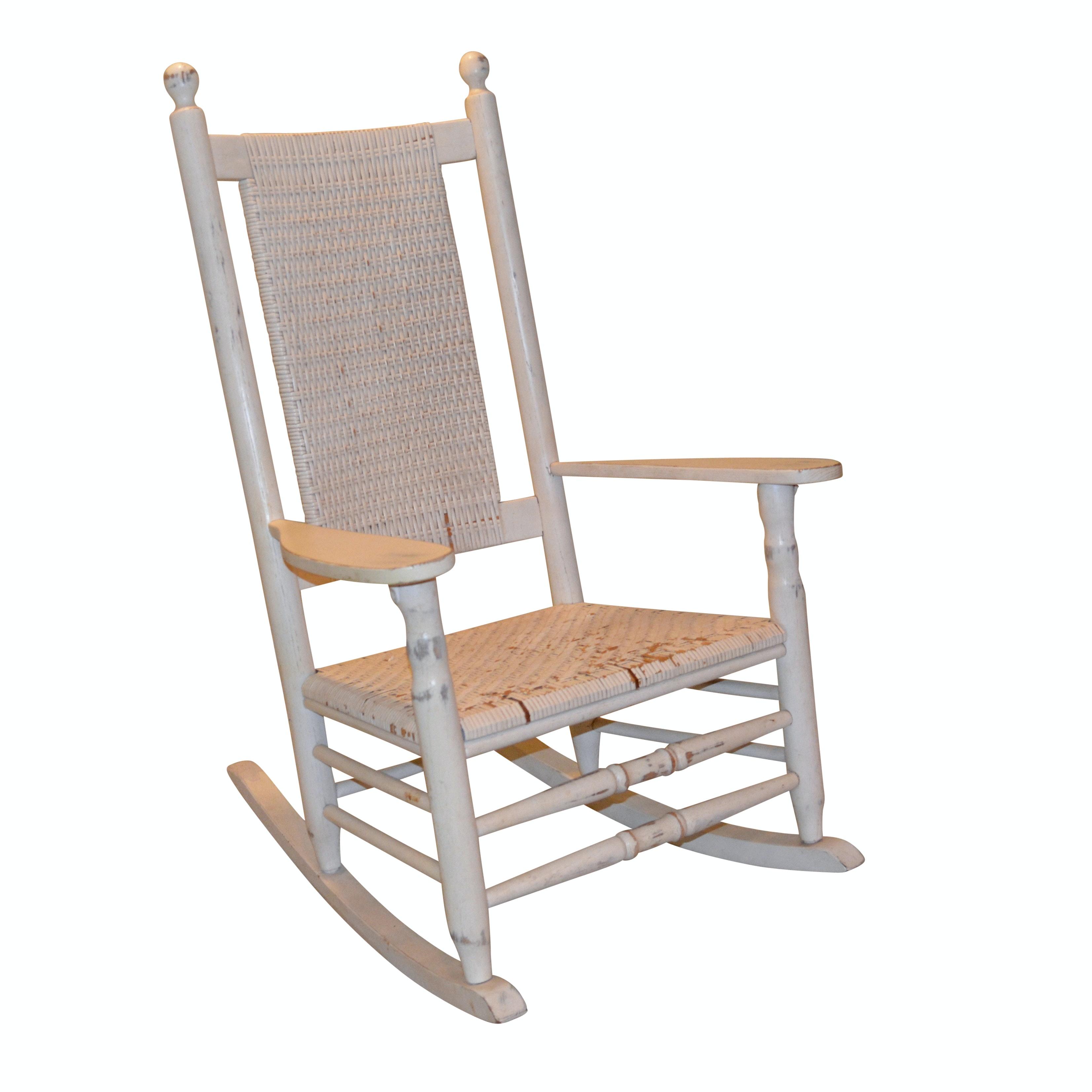 White Wicker Rocking Chair, 20th Century